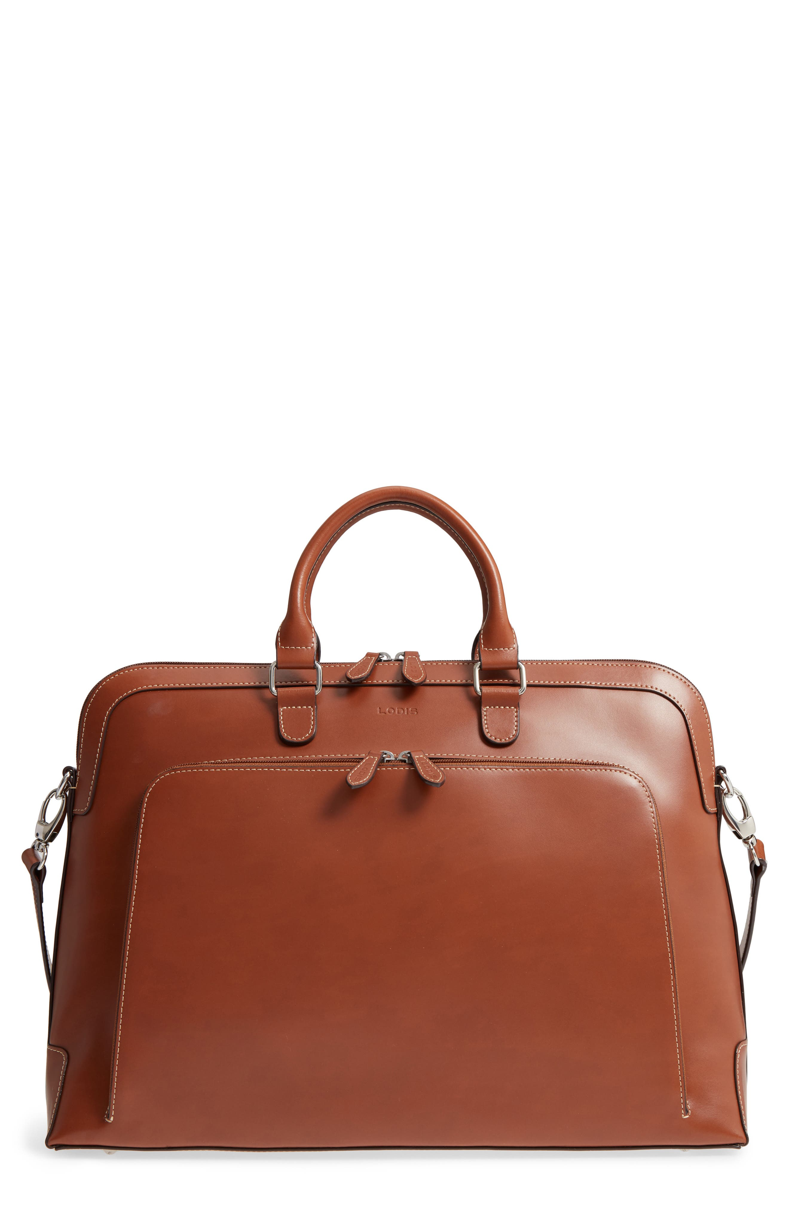 Audrey Under Lock & Key - Brera RFID Leather Briefcase,                             Main thumbnail 1, color,                             Sequoia/ Papaya