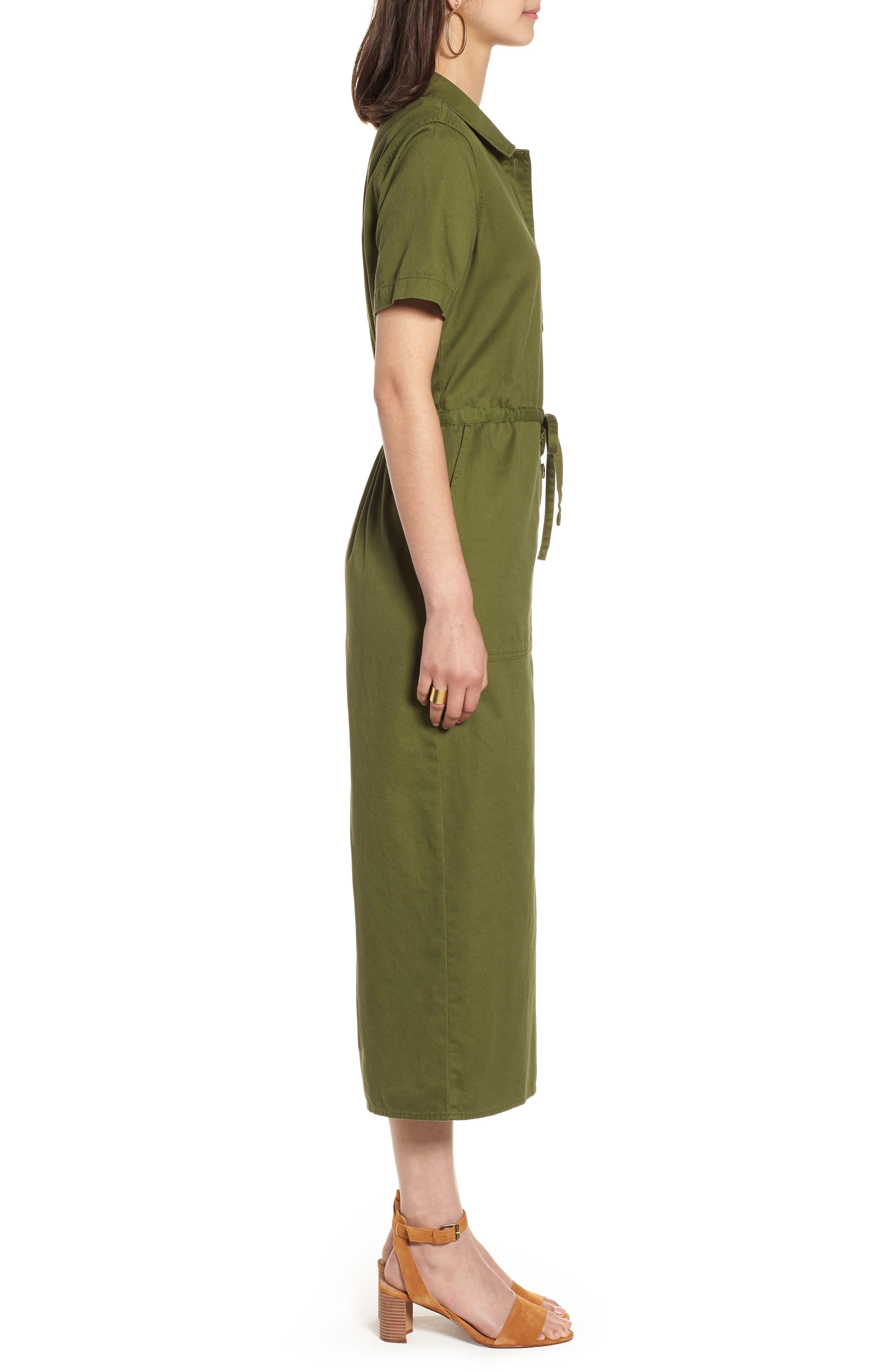 Wide Leg Utility Jumpsuit,                             Alternate thumbnail 3, color,                             Desert Olive
