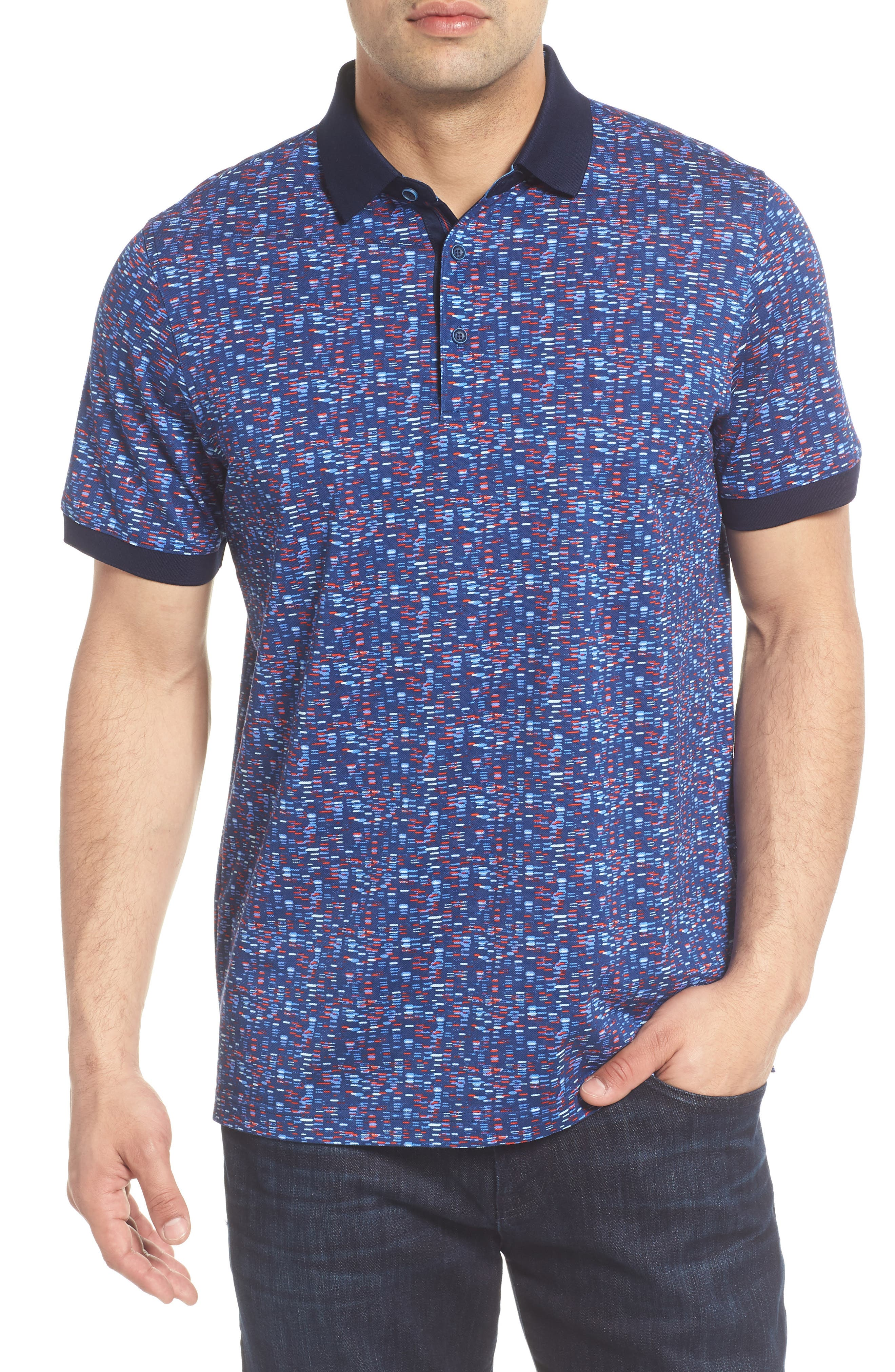 Tile Print Piqué Polo,                             Main thumbnail 1, color,                             Navy