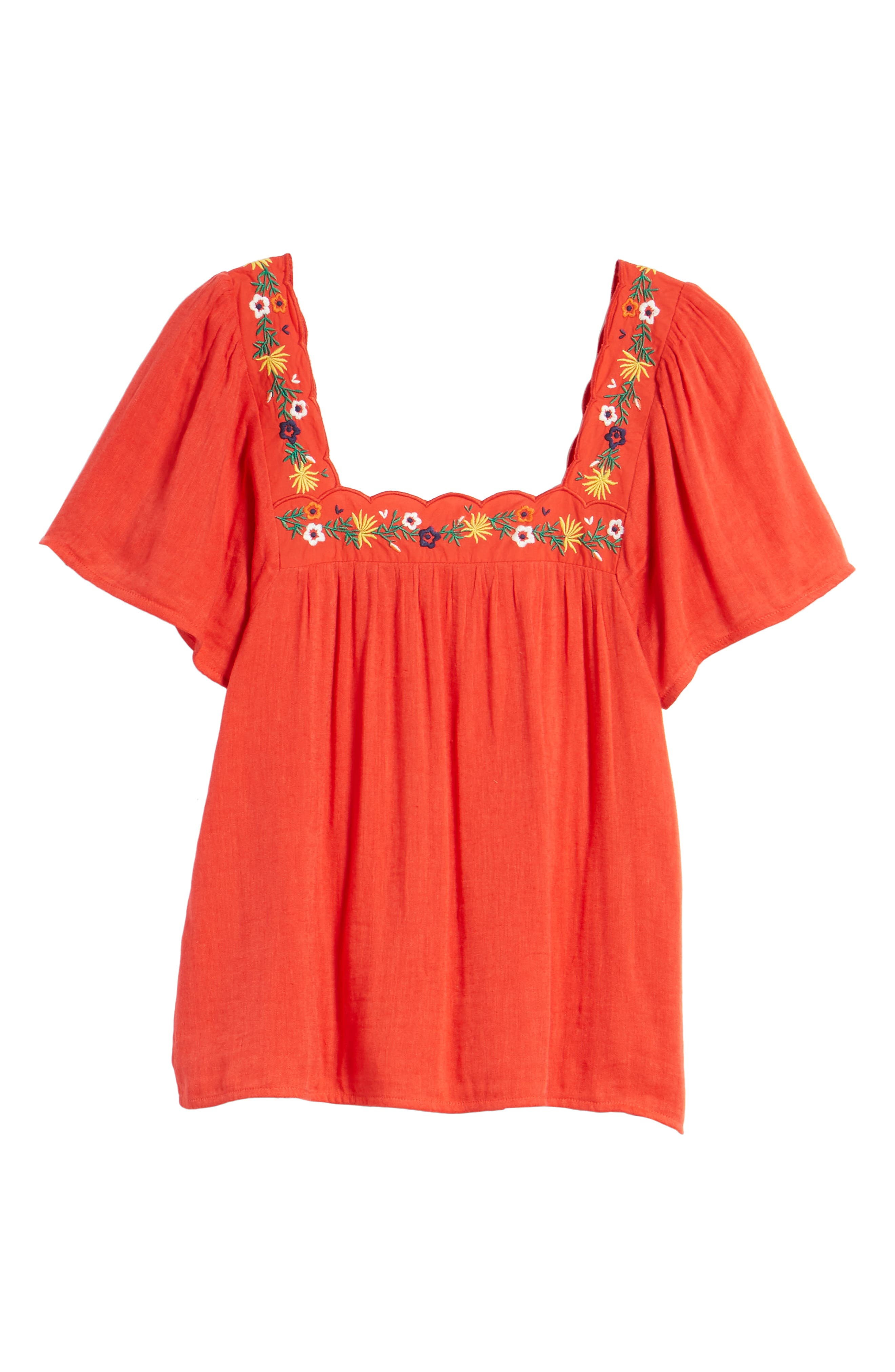 Bea Scalloped Top,                             Alternate thumbnail 7, color,                             Coral Red