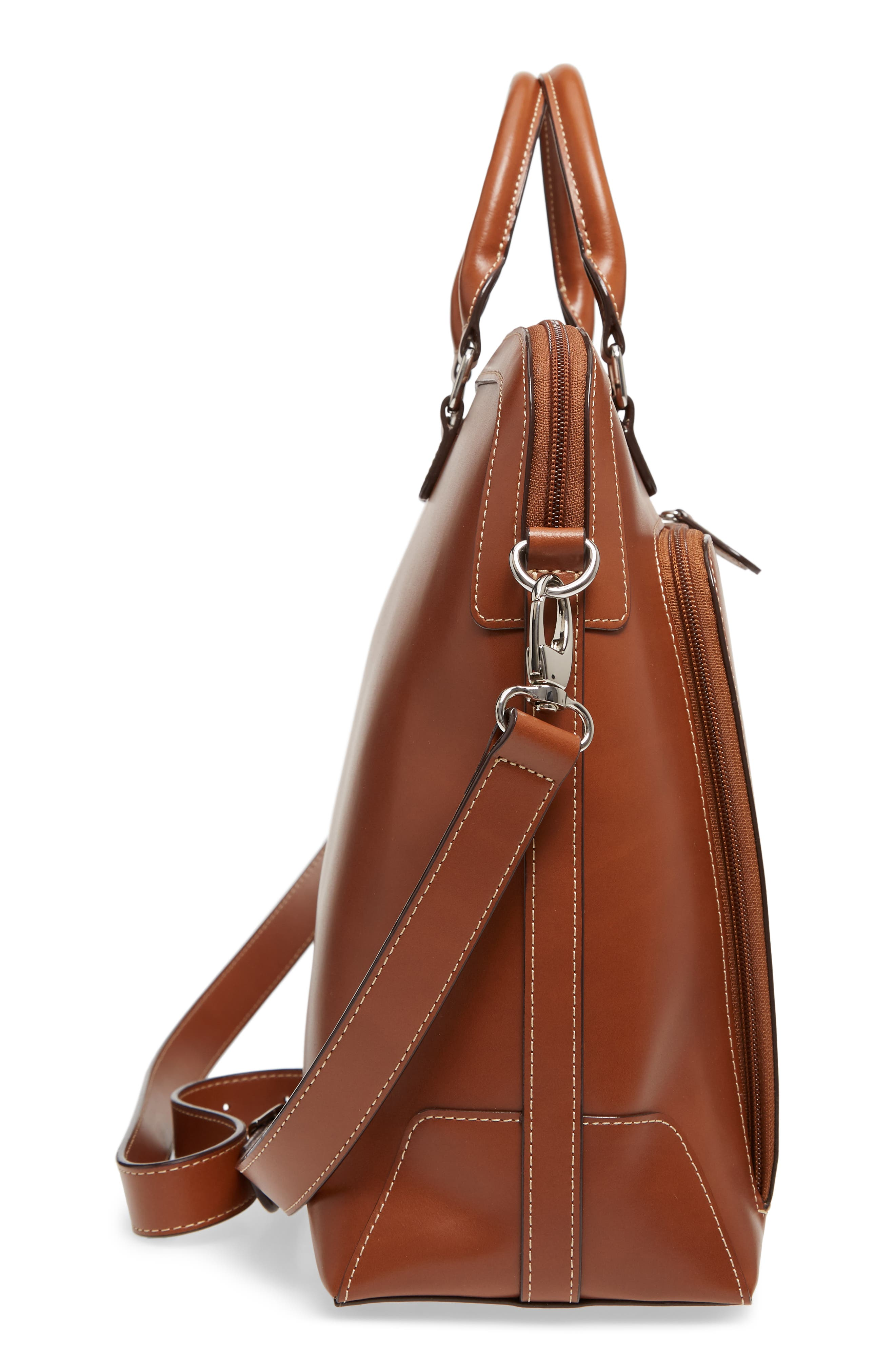 Audrey Under Lock & Key - Brera RFID Leather Briefcase,                             Alternate thumbnail 5, color,                             Sequoia/ Papaya