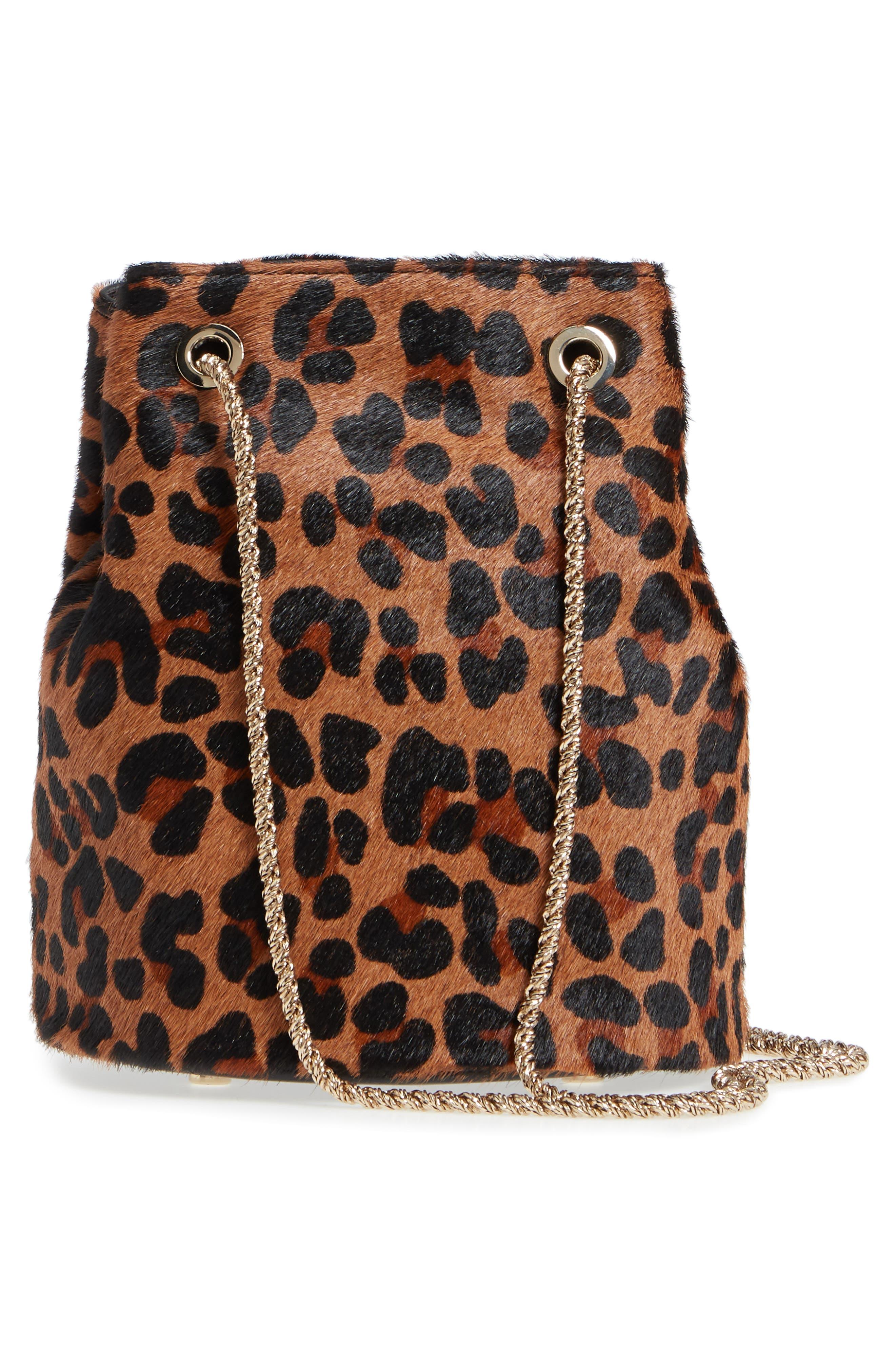 Hope Genuine Calf Hair Bucket Bag,                             Alternate thumbnail 3, color,                             Leaopard/ Maroquinerie