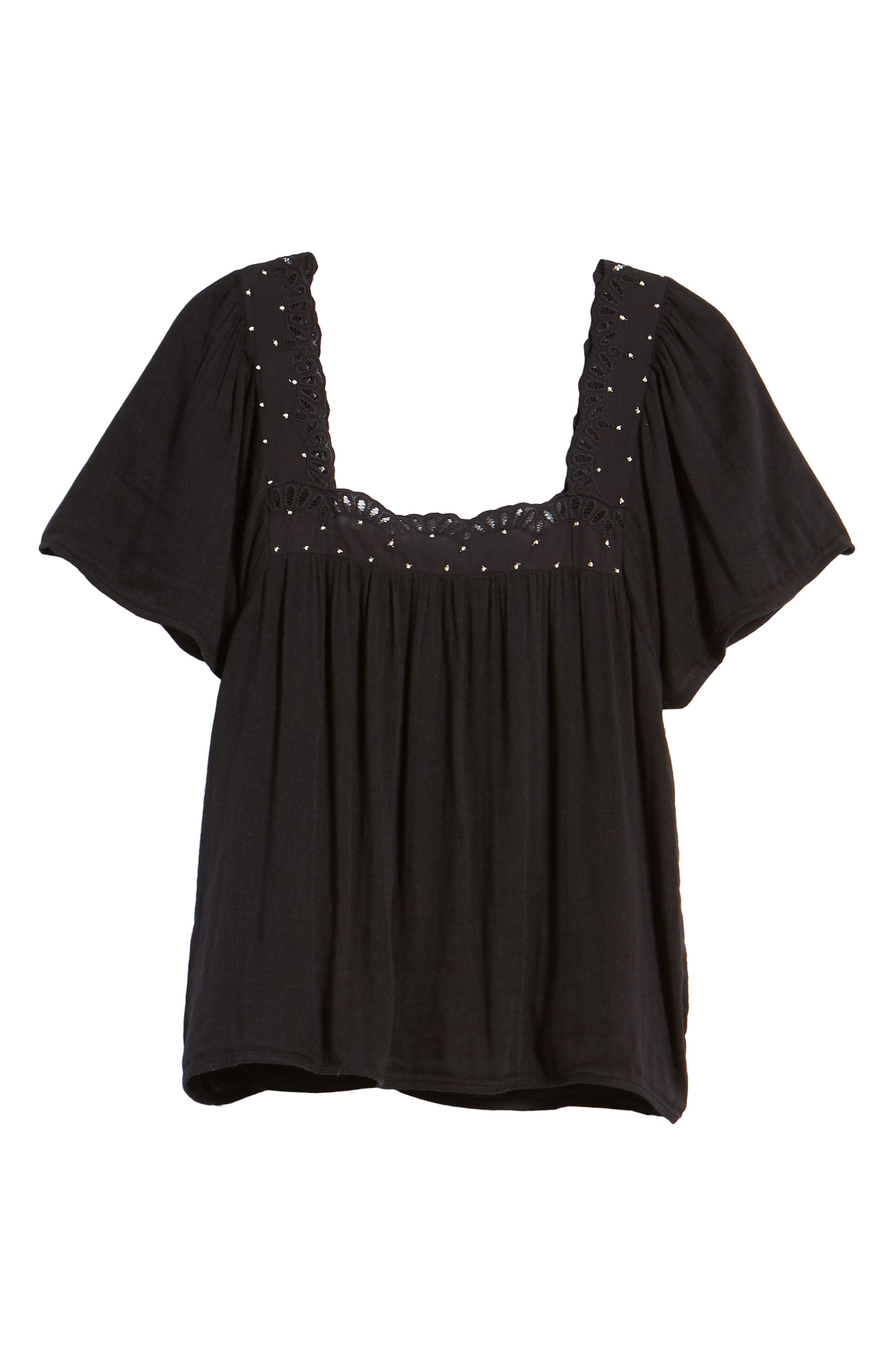 Bea Scalloped Top,                             Alternate thumbnail 7, color,                             Black