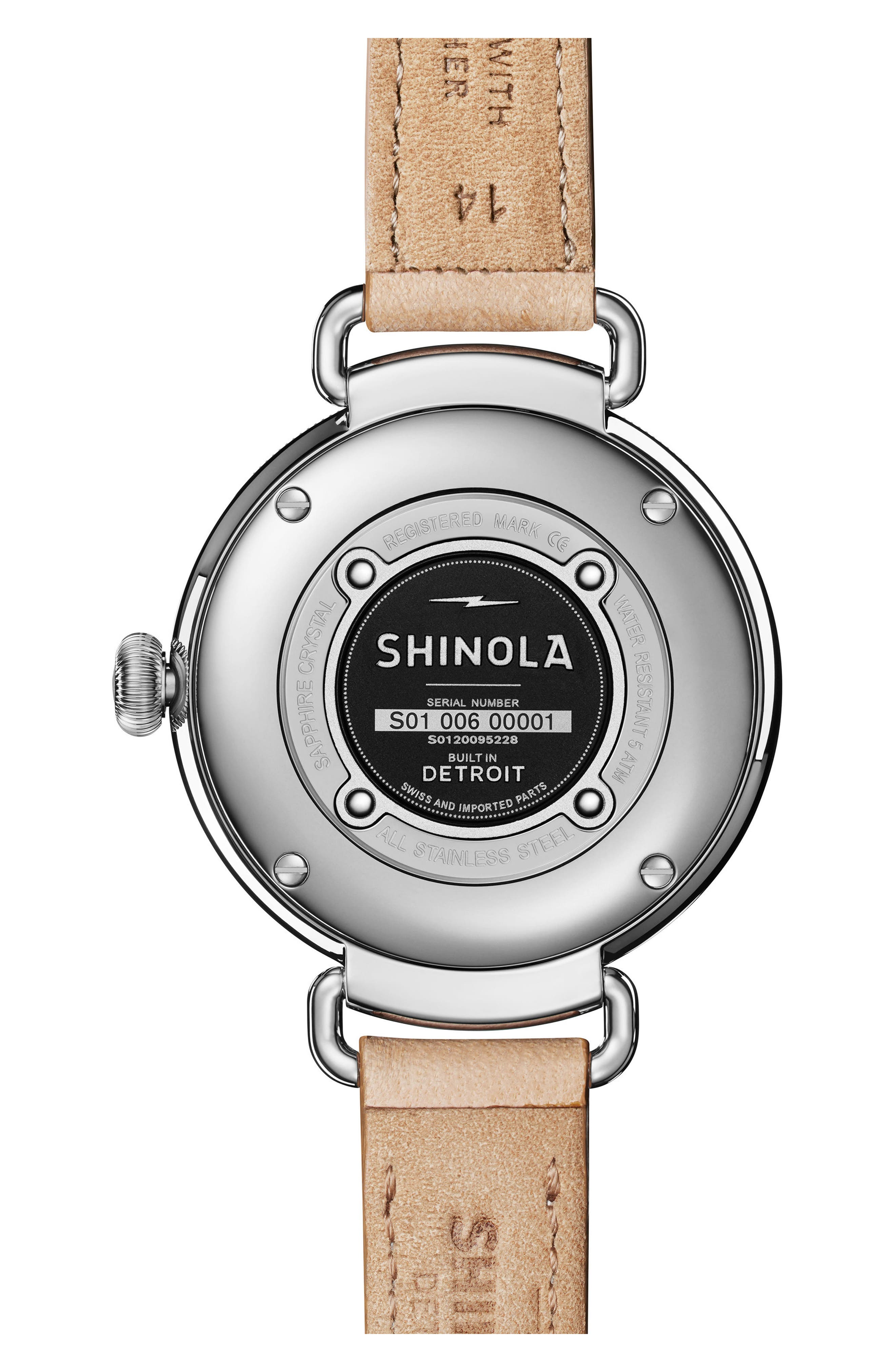 The Canfield Alligator Strap Watch, 38mm,                             Alternate thumbnail 2, color,                             Natural/ Metallic/ Silver