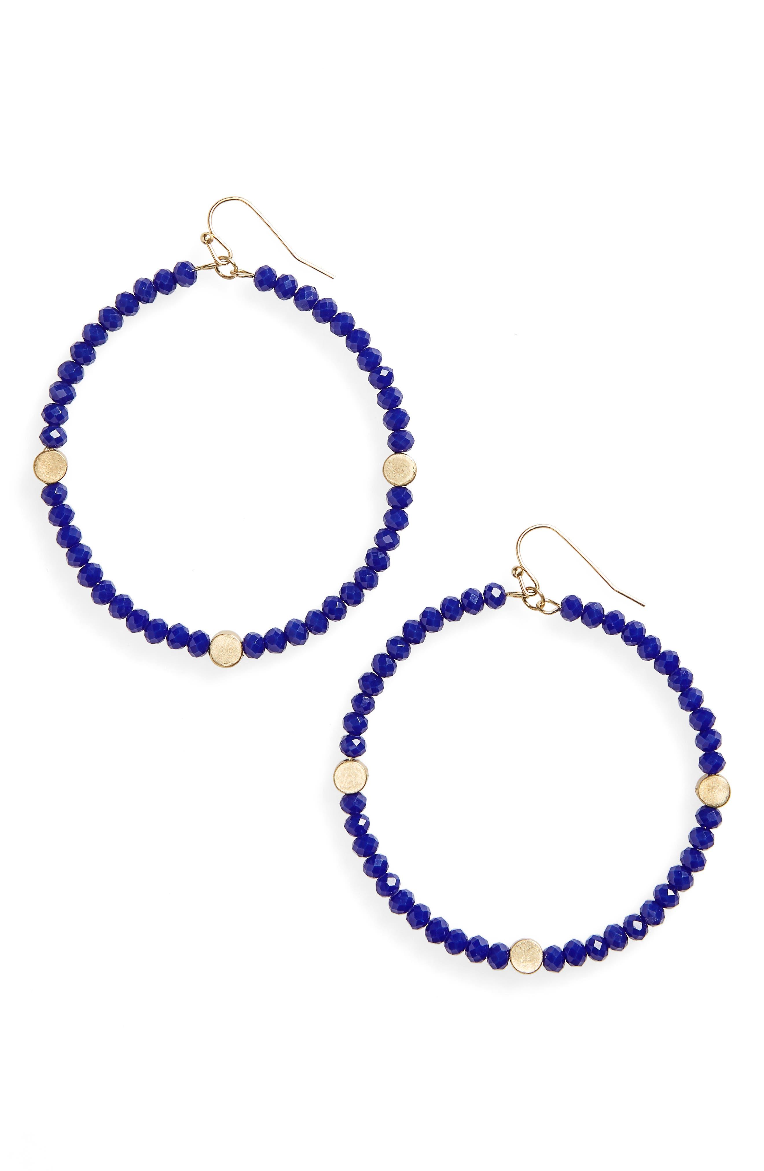 Canvas Large Glass Bead Hoop Earrings