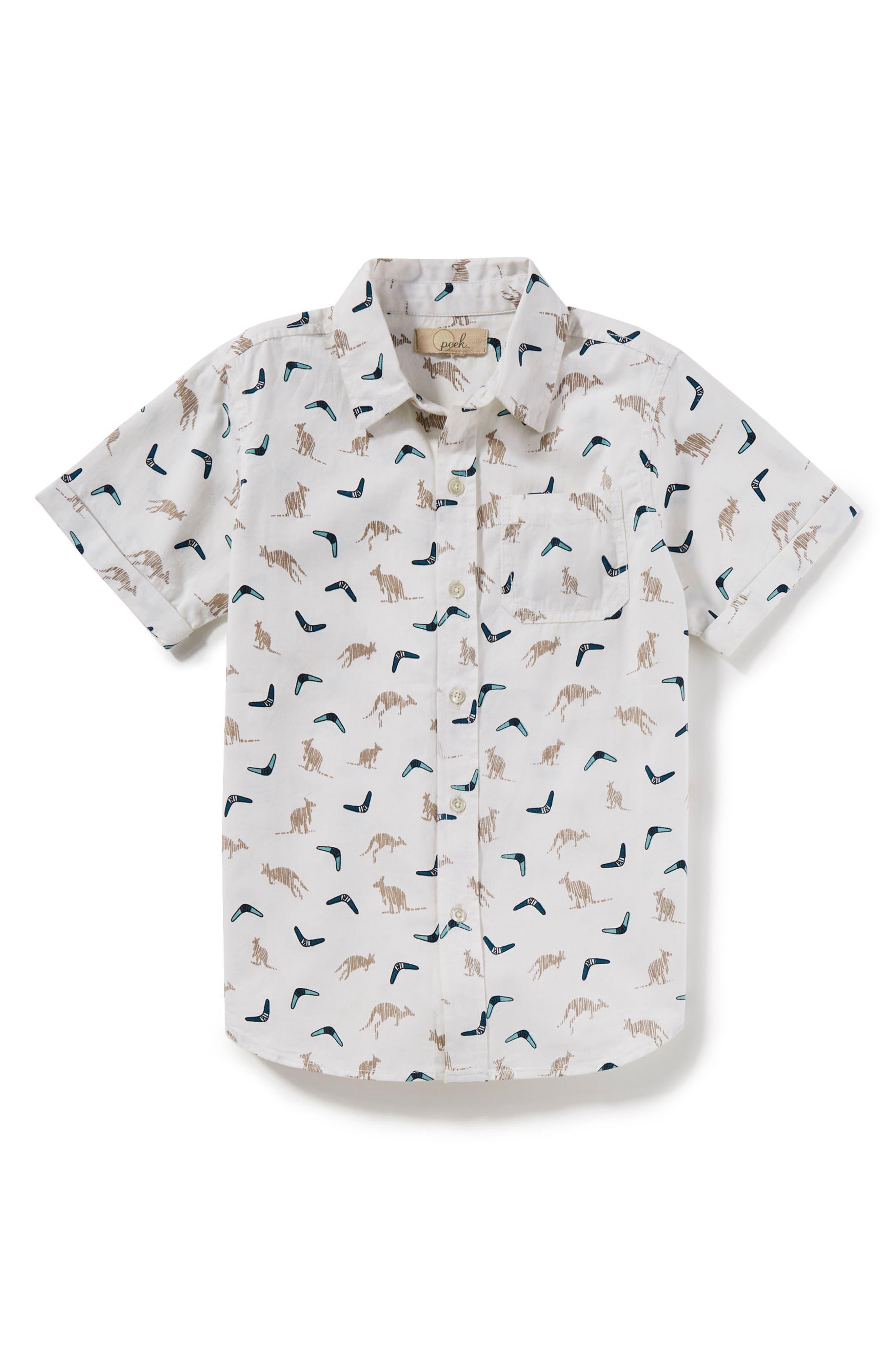 Kangaroo Print Woven Shirt,                         Main,                         color, Ivory