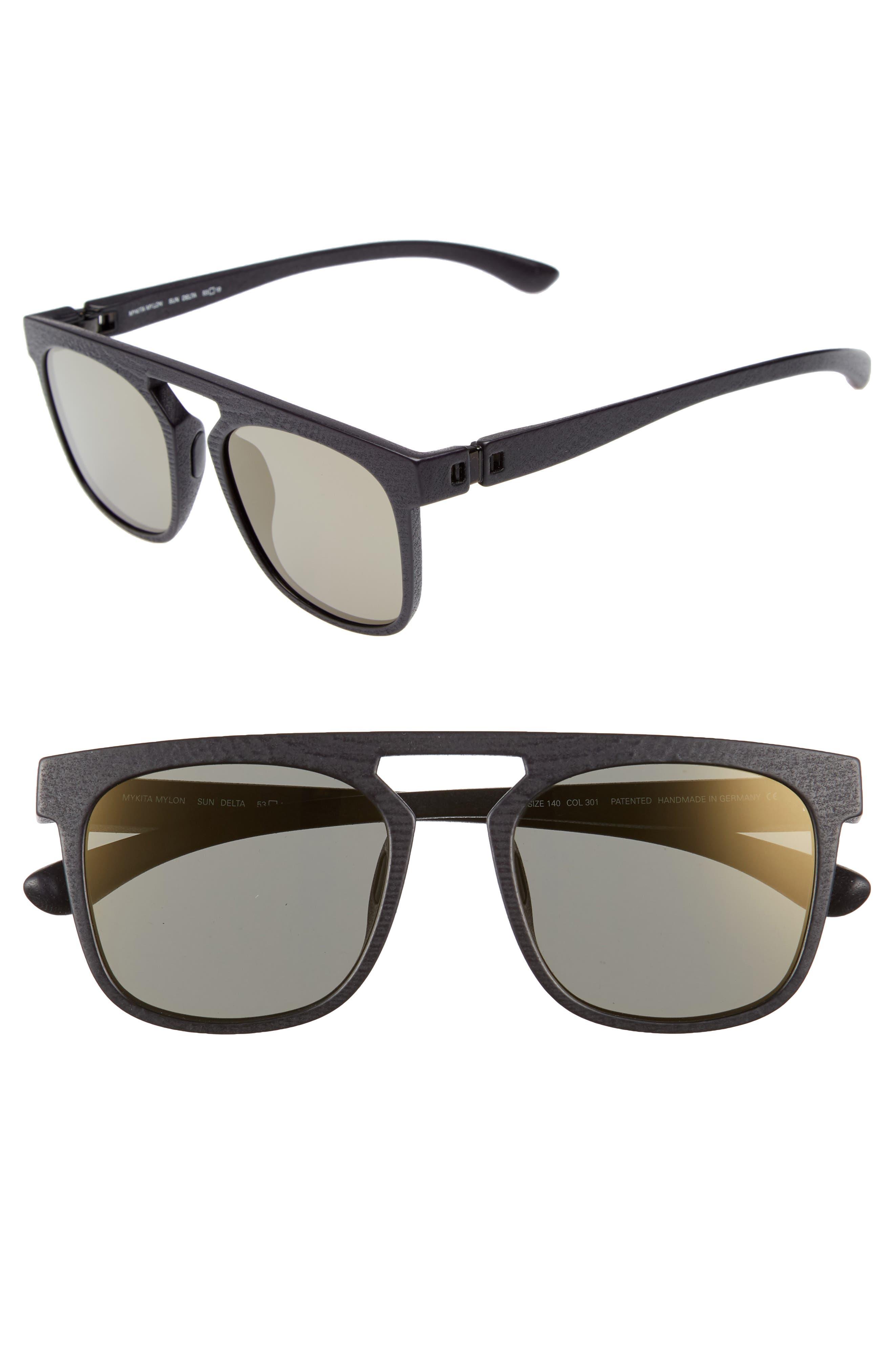 Delta 53mm Sunglasses,                             Main thumbnail 1, color,                             Pitch Black