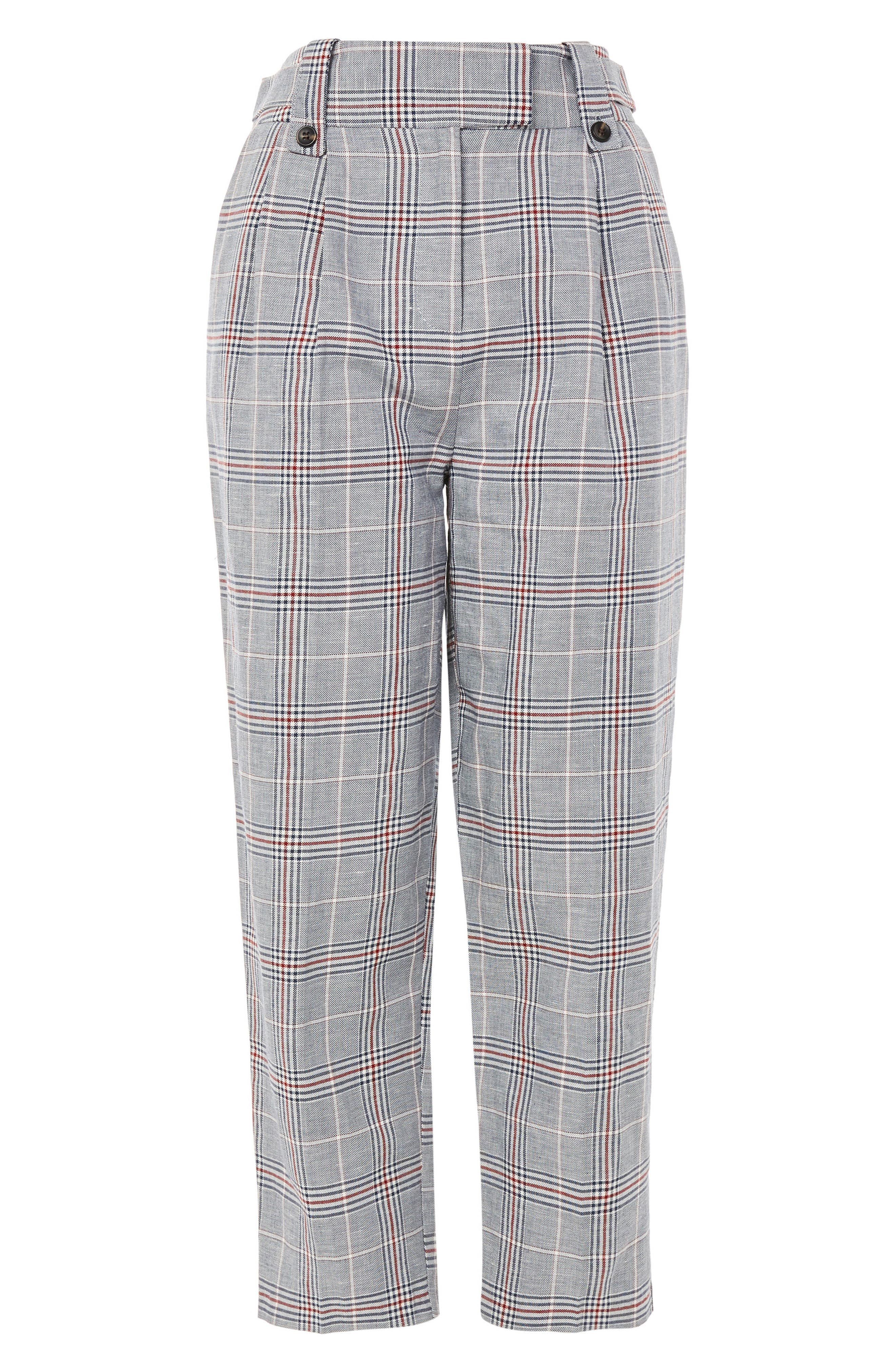 Cham Linen Checked Trousers,                             Alternate thumbnail 4, color,                             Grey  Multi