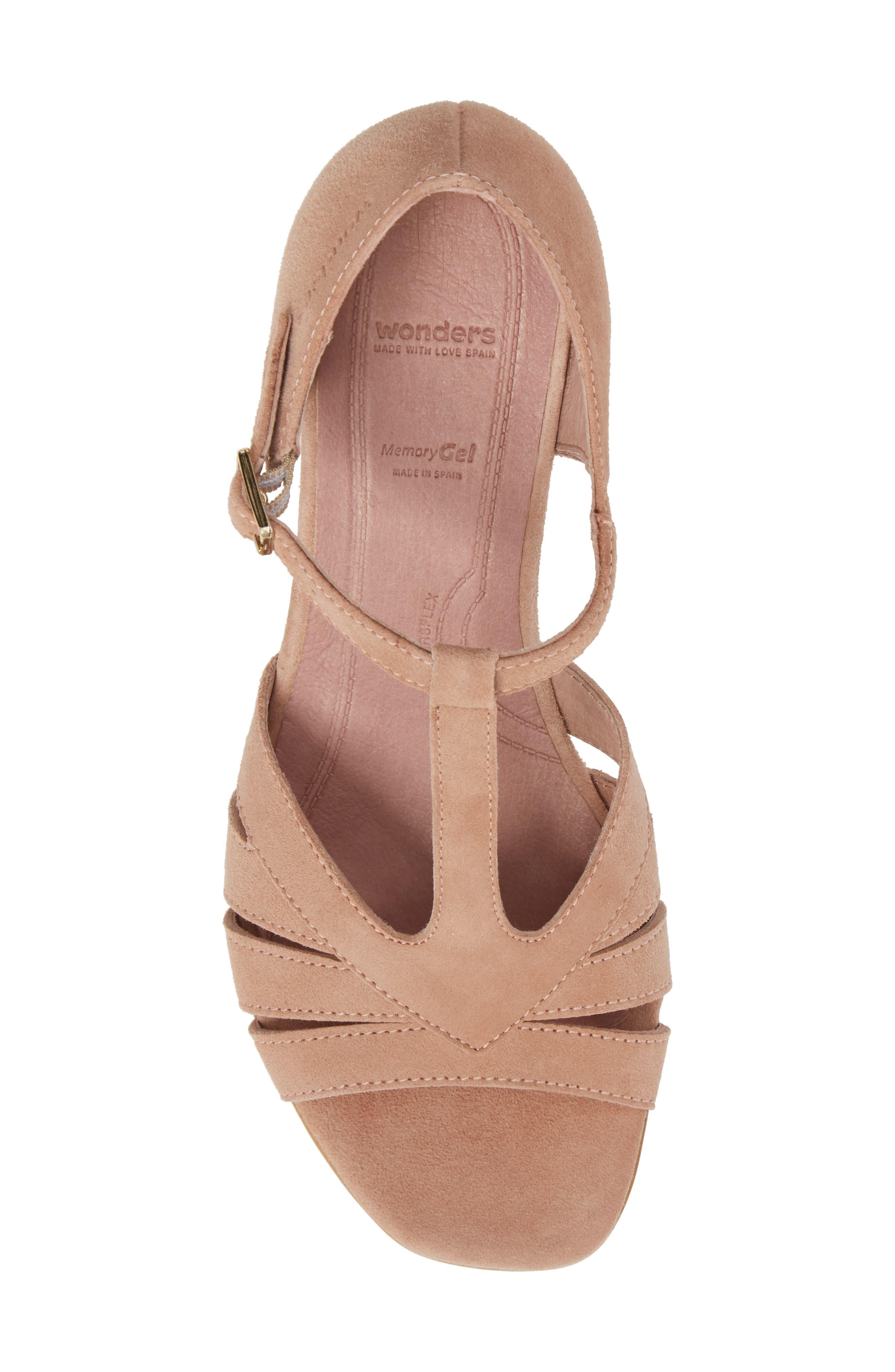 Block Heel Sandal,                             Alternate thumbnail 5, color,                             Nude Suede