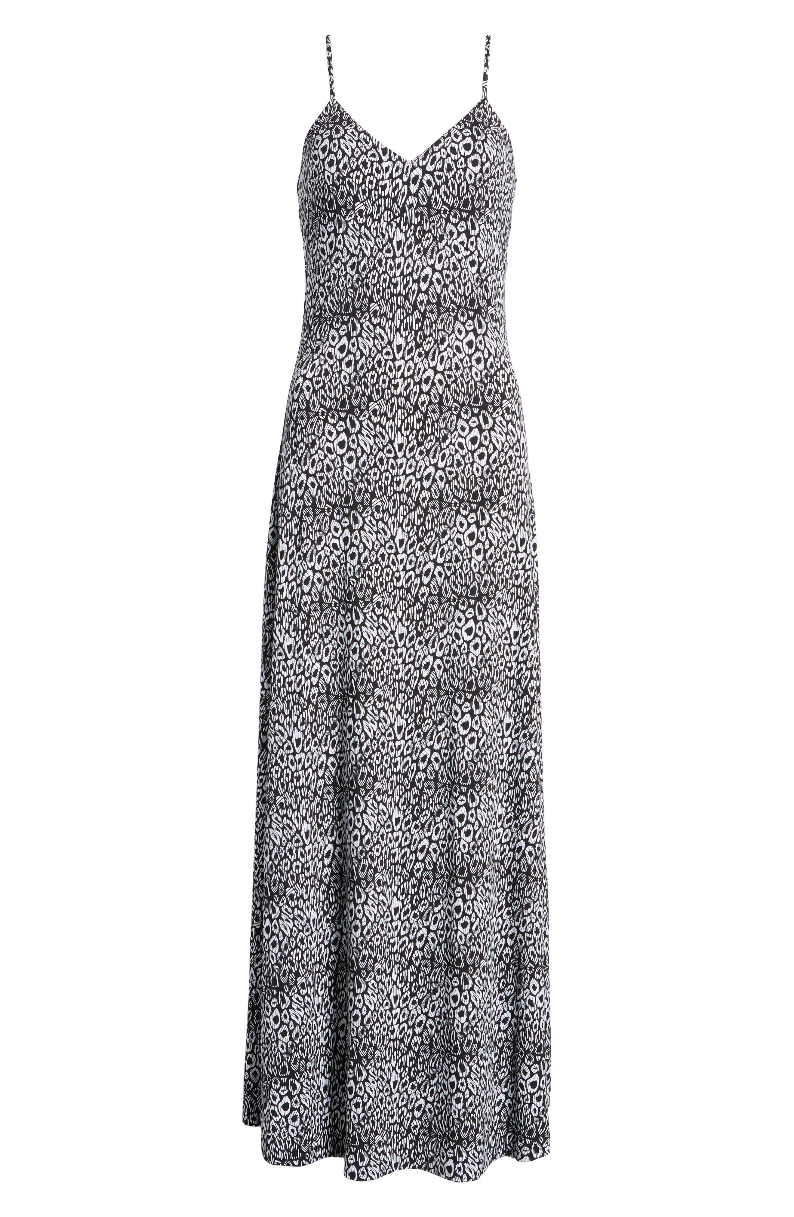 Wavy Leopard Print Tank Maxi Dress,                             Alternate thumbnail 7, color,                             Black/ White