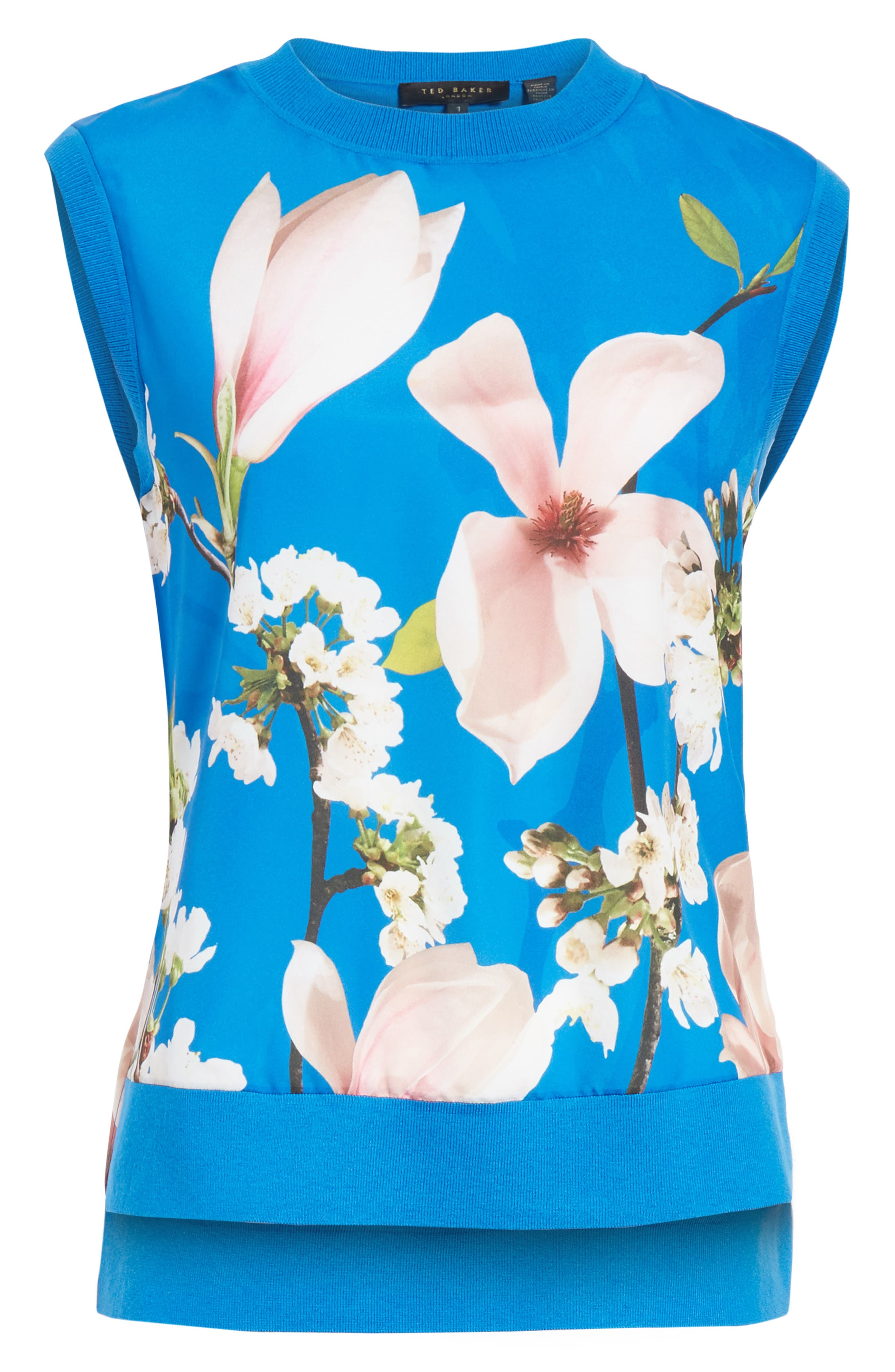 Harmony Floral Mix Media Sleeveless Sweater,                             Alternate thumbnail 6, color,                             Bright Blue