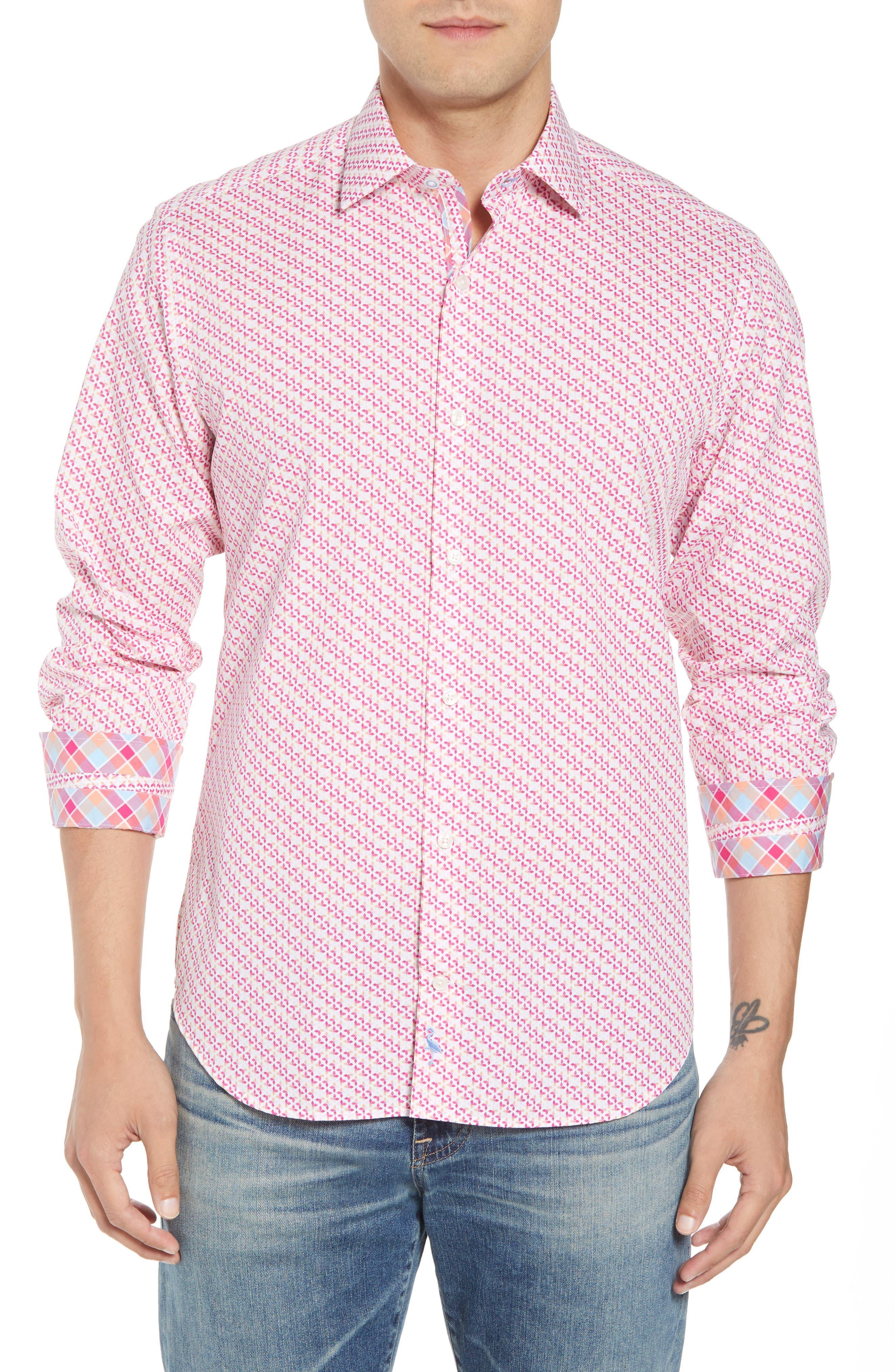 Ade Regular Fit Print Sport Shirt,                             Main thumbnail 1, color,                             Fuchsia