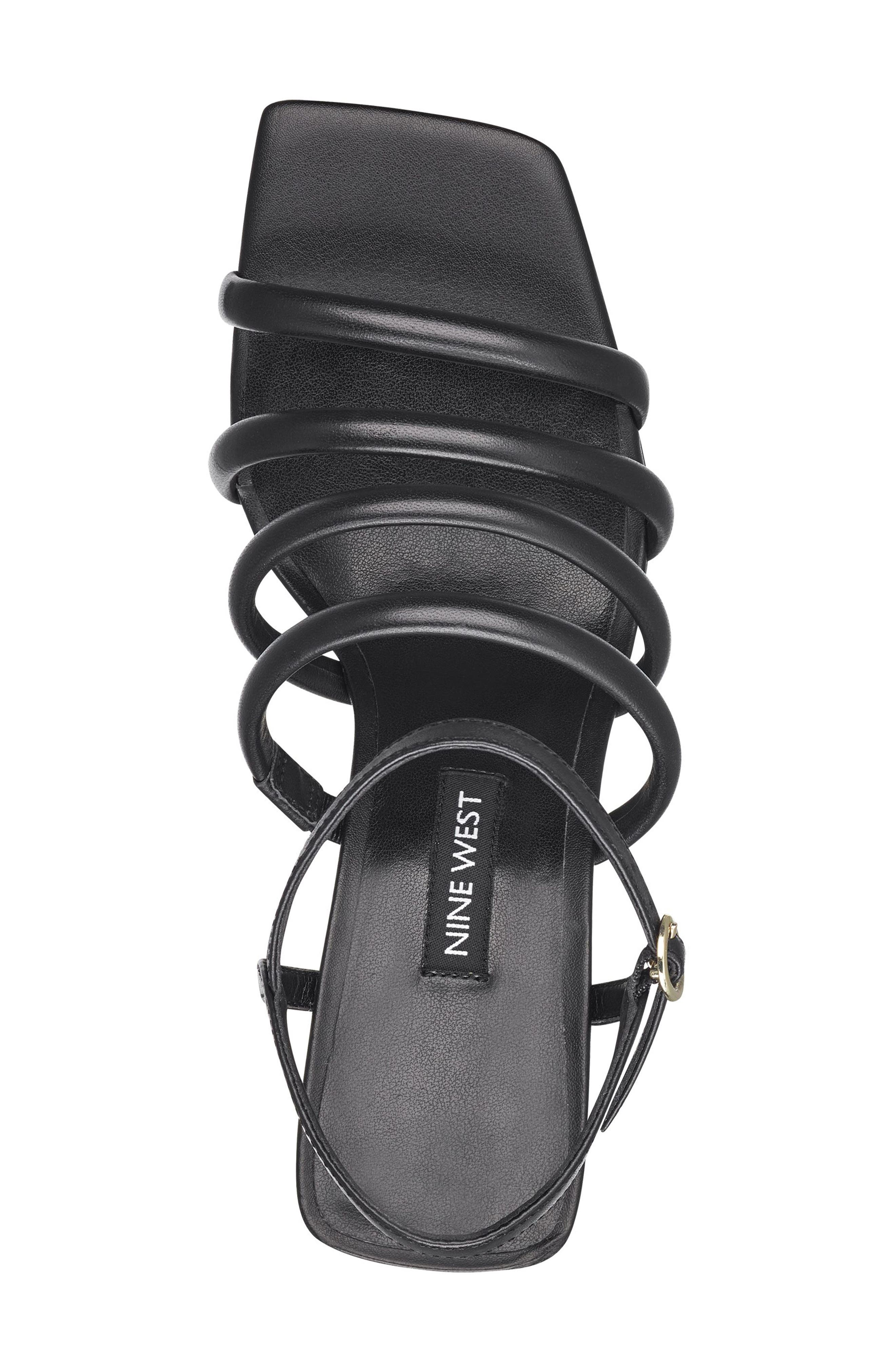 Laxian Cage Sandal,                             Alternate thumbnail 4, color,                             Black Leather