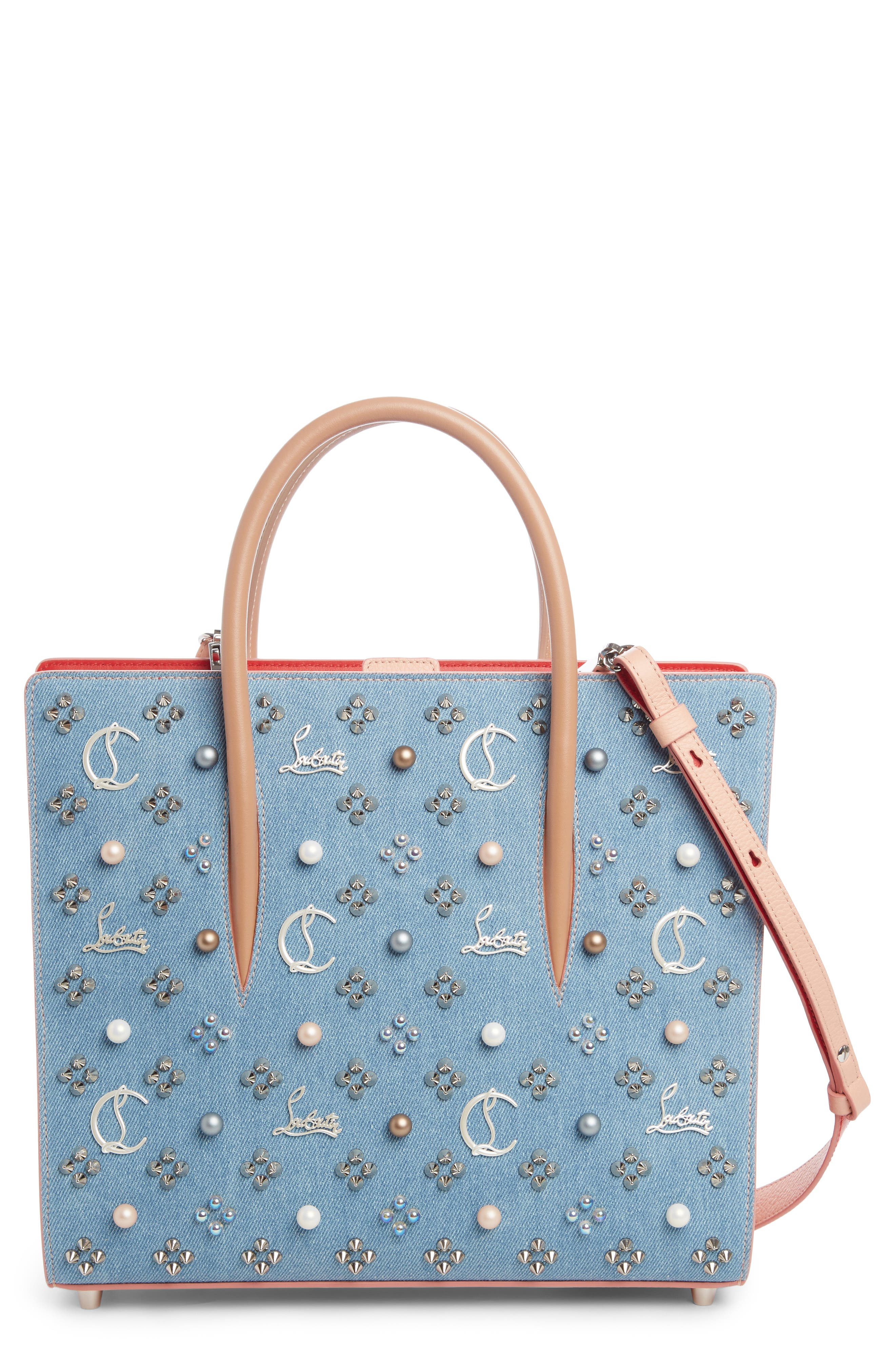 Medium Paloma Studded Denim & Leather Tote,                         Main,                         color, Blue/ Pearl Mix