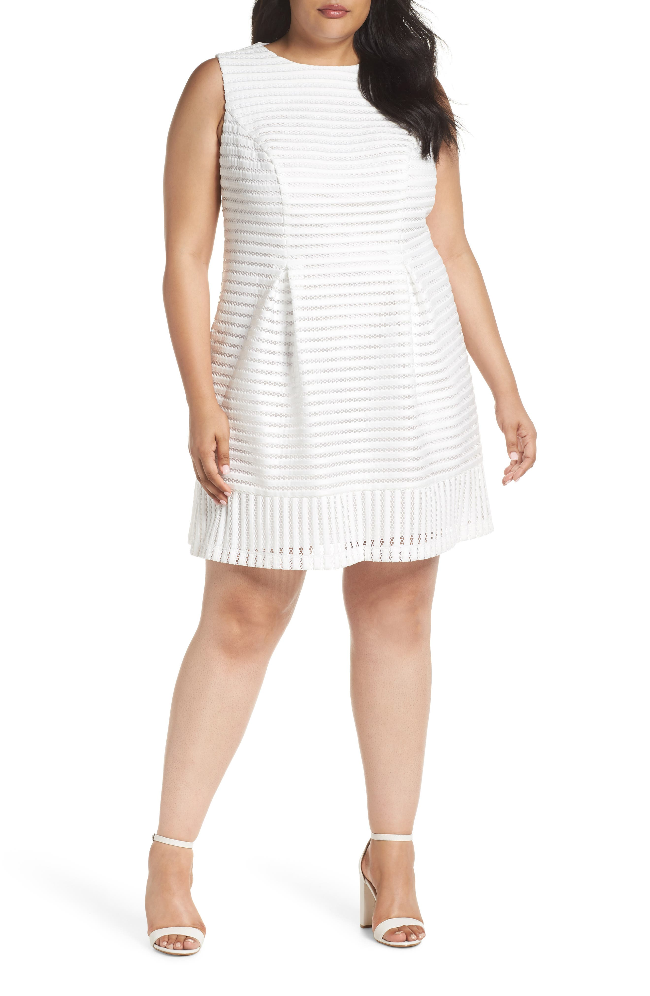 Mesh Stripe Pleated A-Line Dress,                         Main,                         color, Ivory