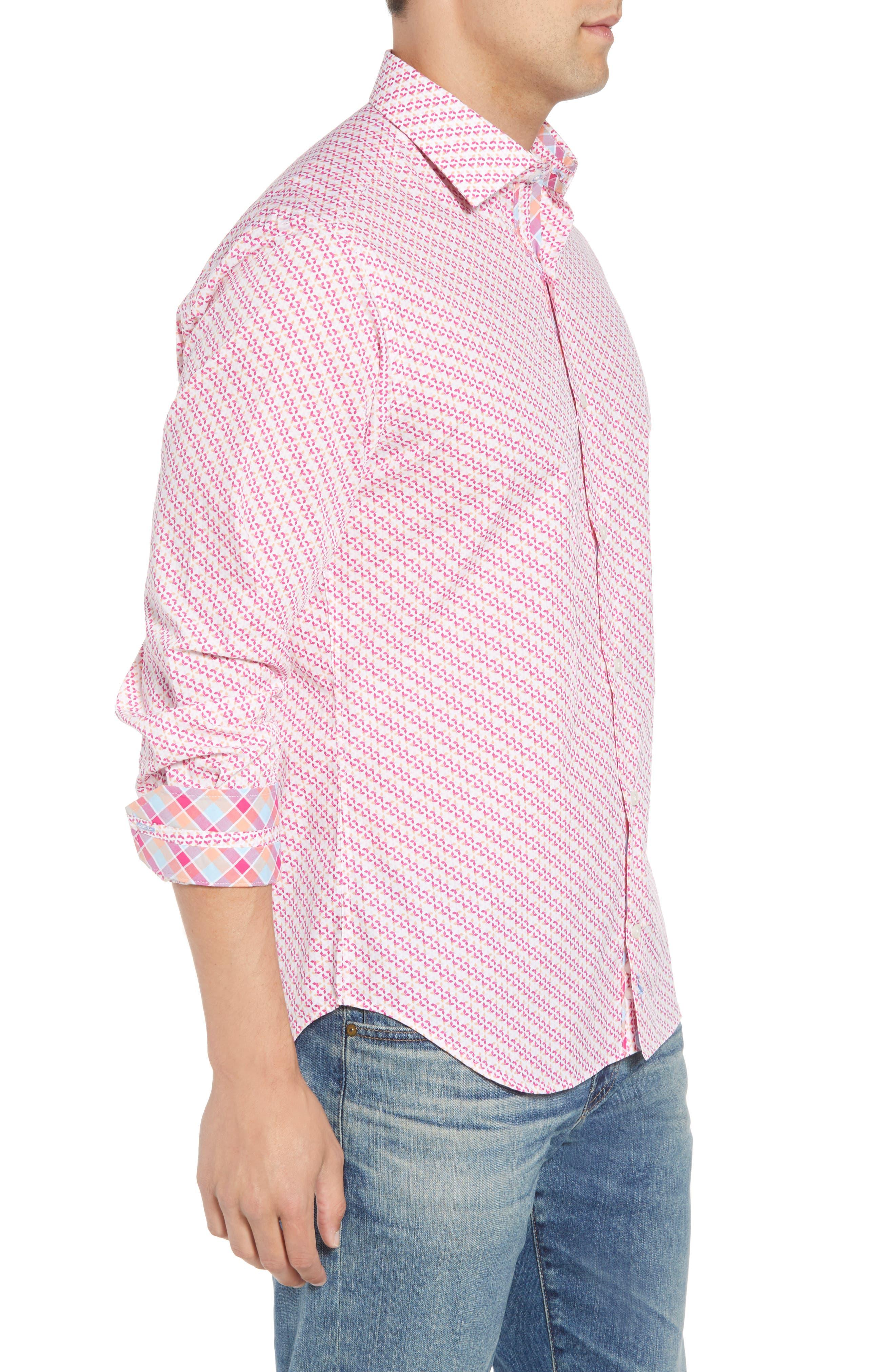 Ade Regular Fit Print Sport Shirt,                             Alternate thumbnail 4, color,                             Fuchsia