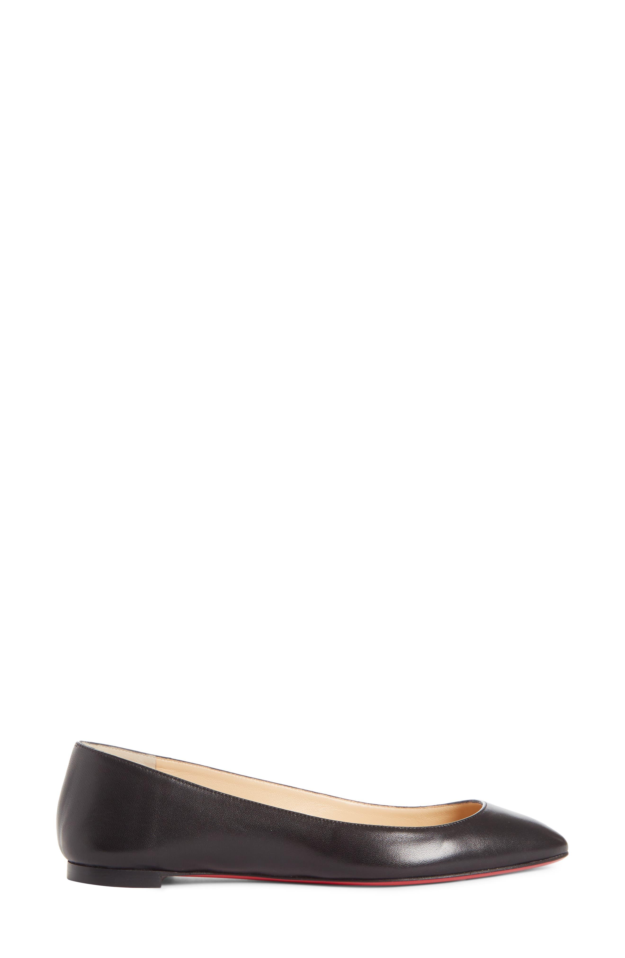 Eloise Flat,                             Alternate thumbnail 3, color,                             Black Leather