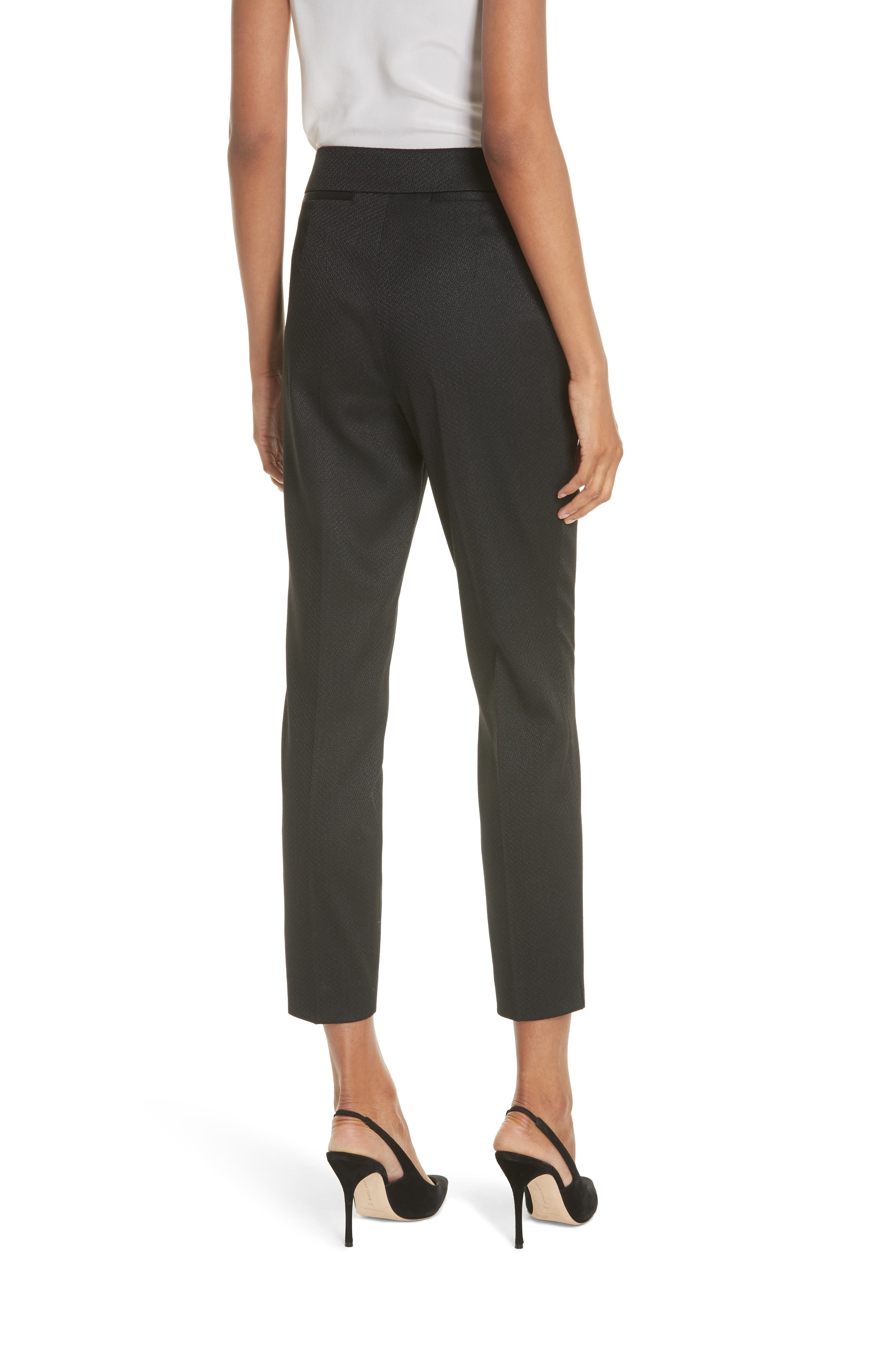 Textured Tailored Crop Pants,                             Alternate thumbnail 2, color,                             Black