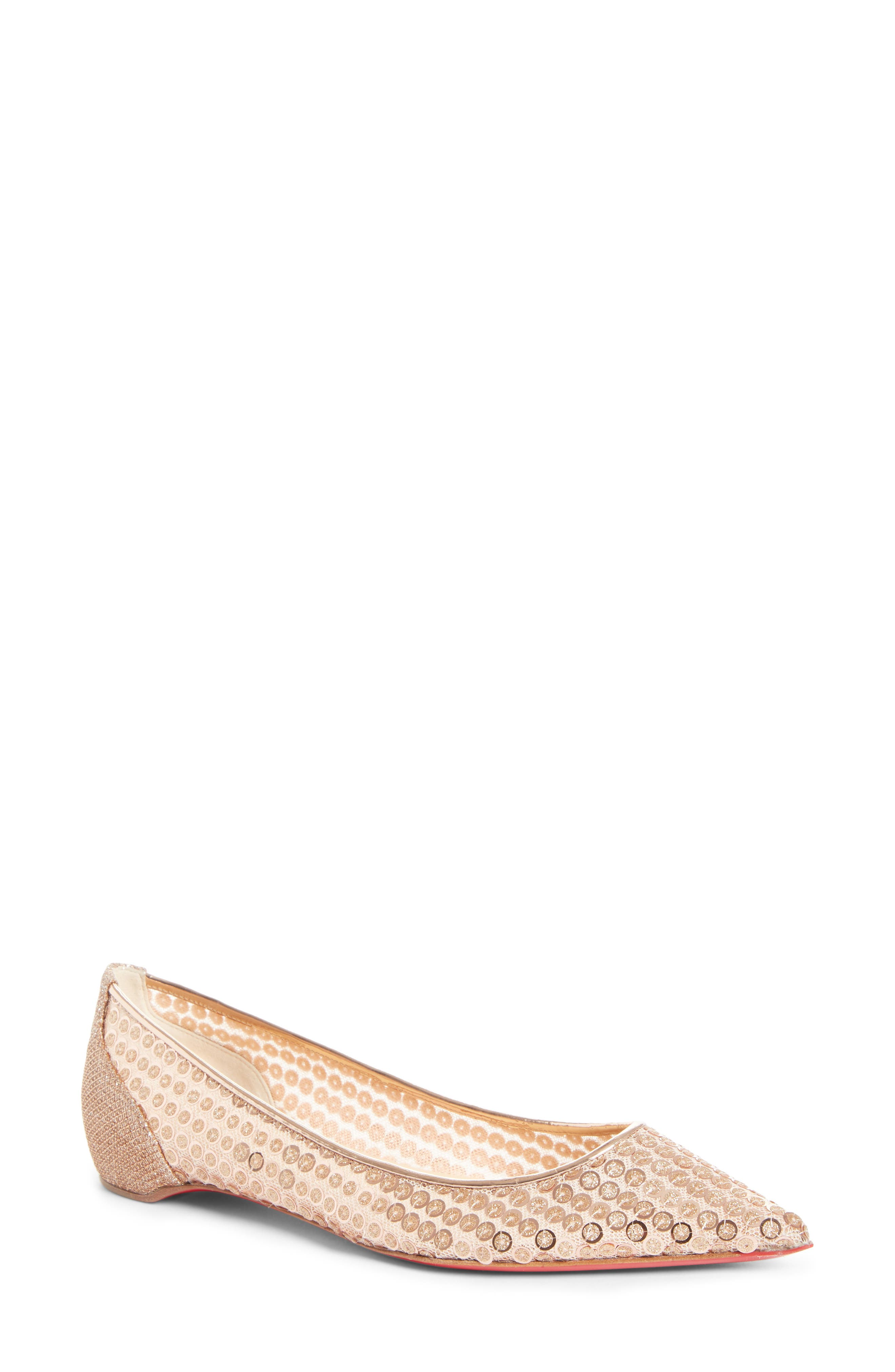 Christian Louboutin Cabaret Sequin Pointy Toe Flat (Women)
