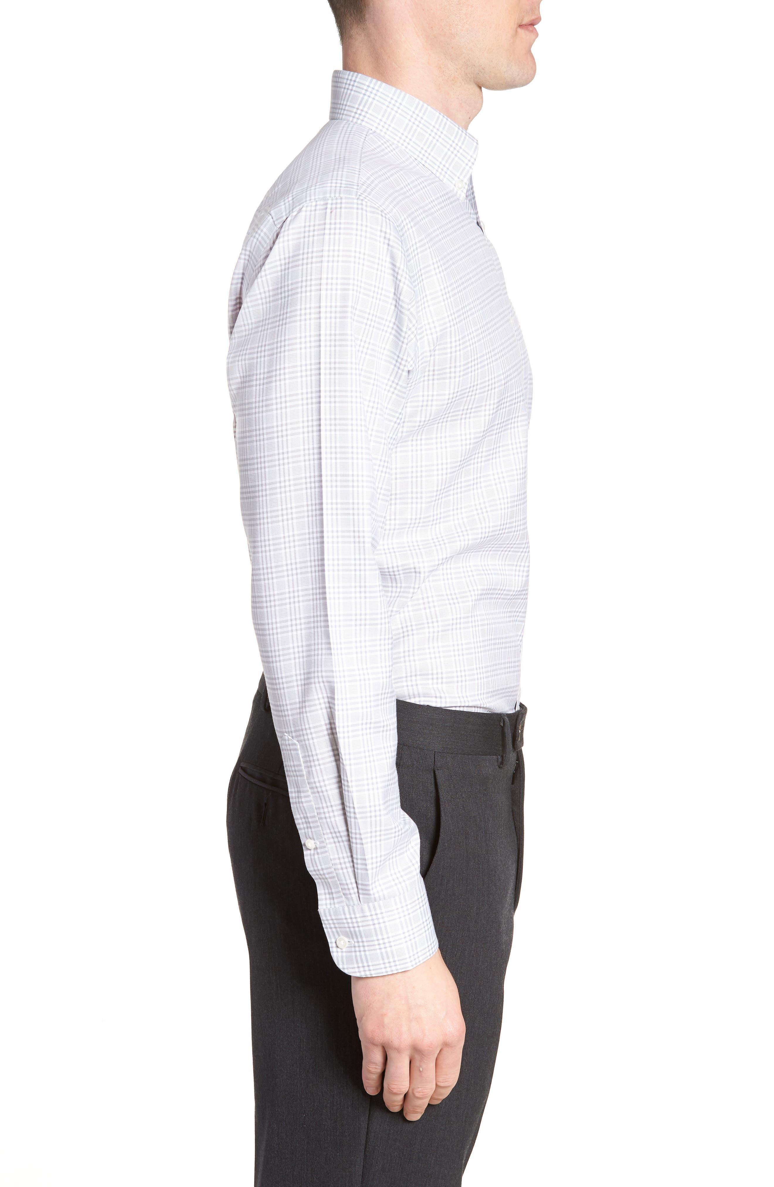 Smartcare<sup>™</sup> Traditional Fit Plaid Dress Shirt,                             Alternate thumbnail 4, color,                             Grey Sleet