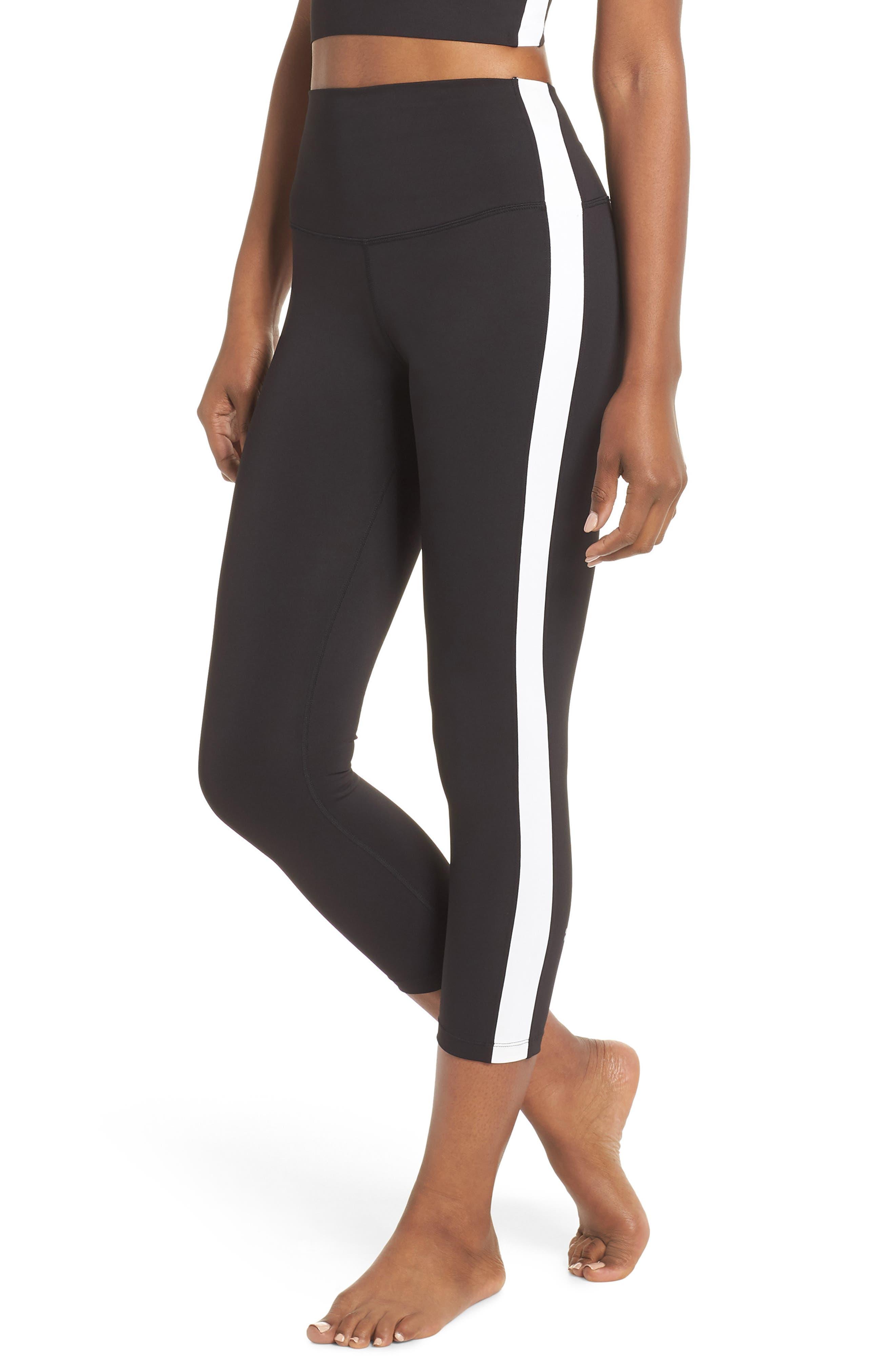 Rose High Waist Capri Leggings,                         Main,                         color, Black/ Off White