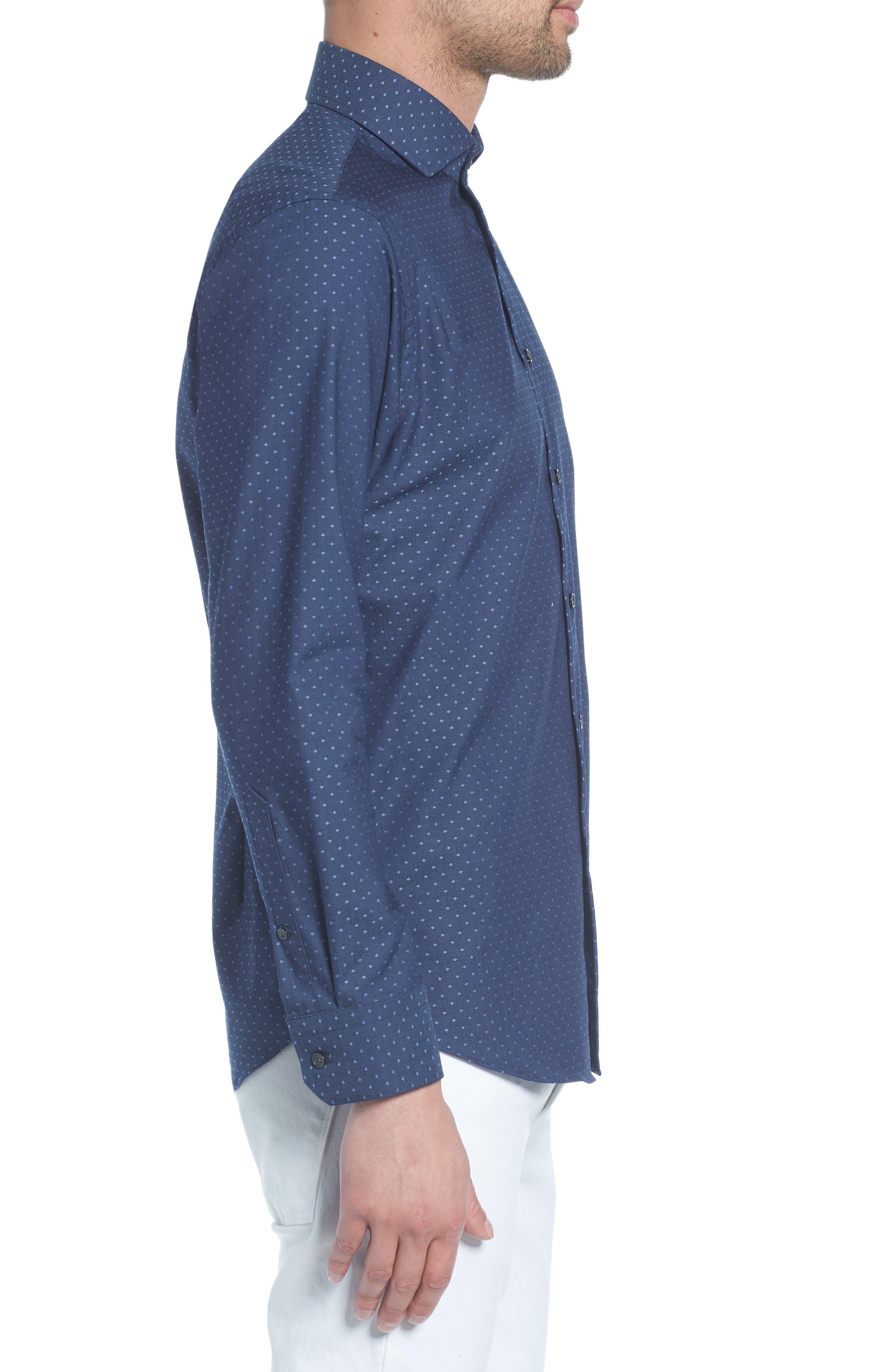 Extra Trim Fit Dot Dress Shirt,                             Alternate thumbnail 4, color,                             Navy Medieval