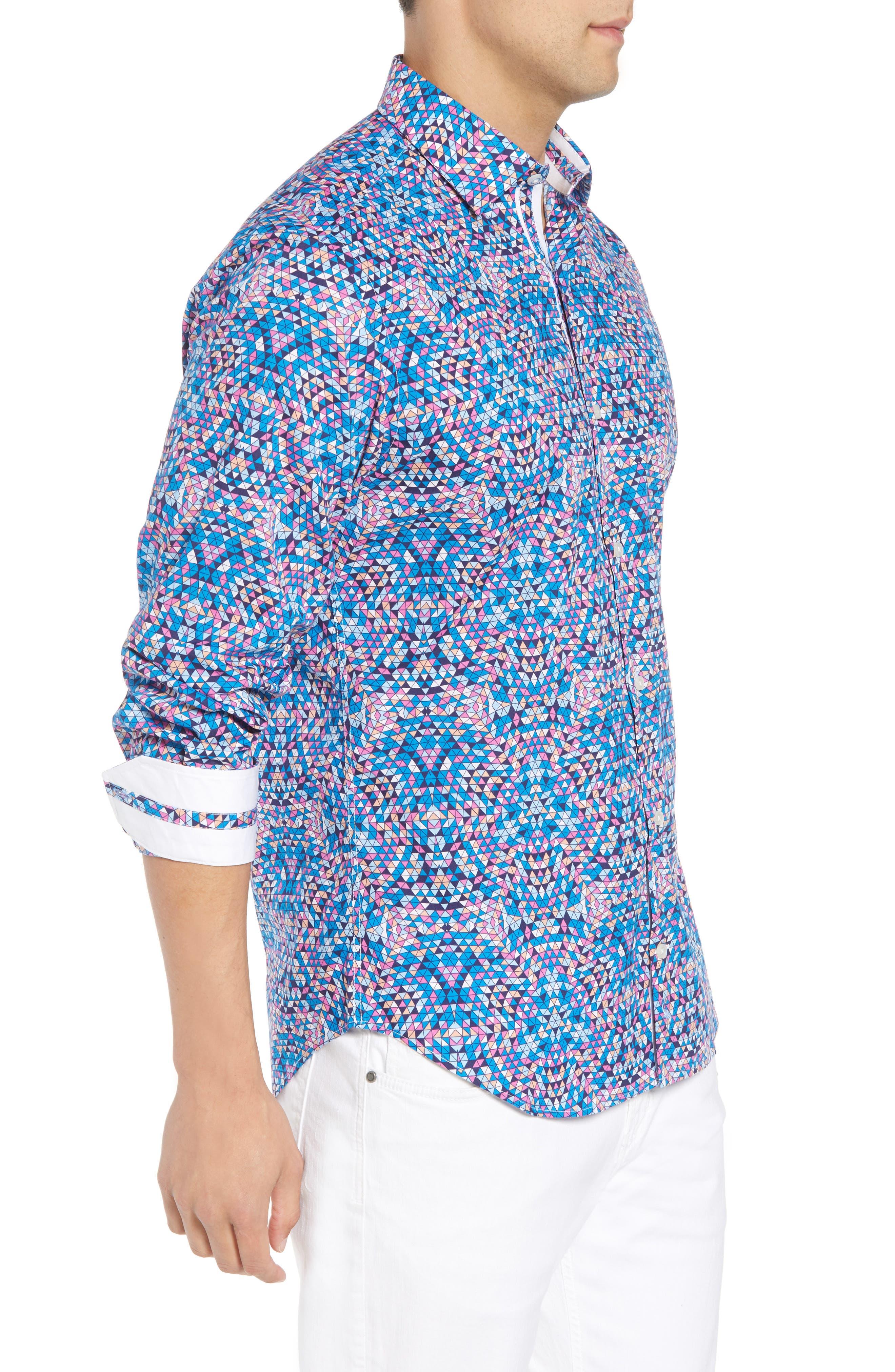 Alden Regular Fit Sport Shirt,                             Alternate thumbnail 4, color,                             Teal