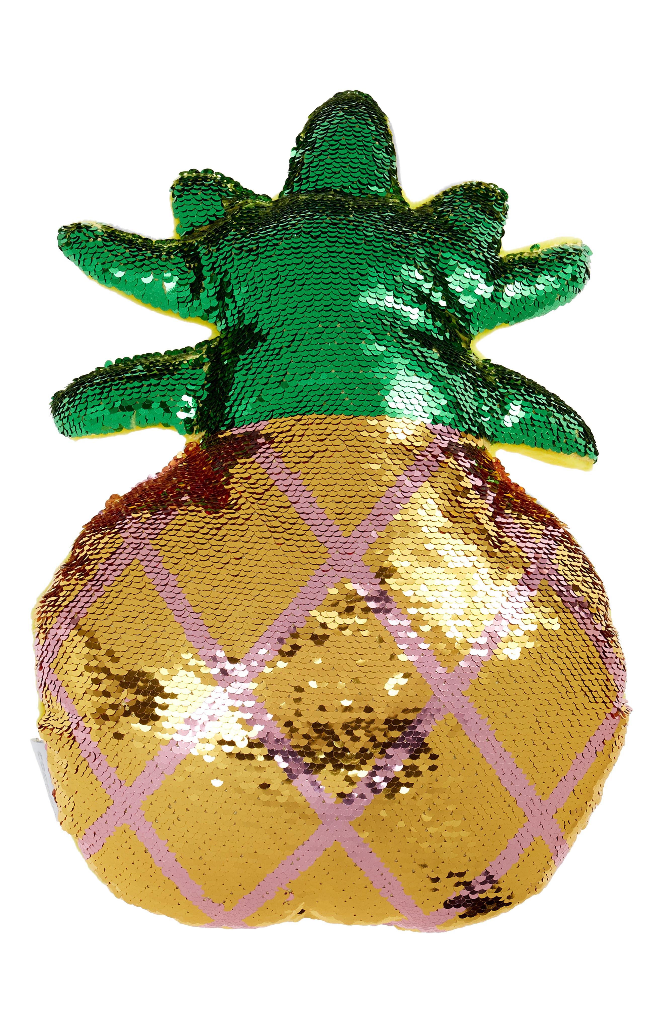 Flip Sequin Pineapple Pillow,                             Main thumbnail 1, color,                             Gold Combo