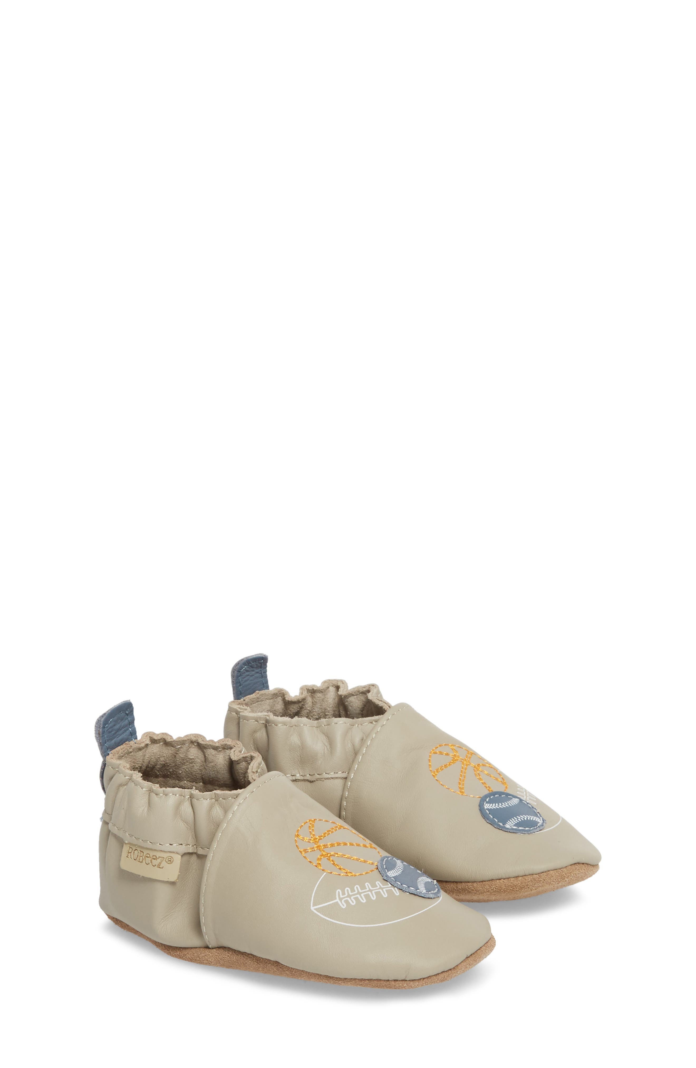 Dream Big Moccasin Crib Shoe,                             Alternate thumbnail 3, color,                             Taupe