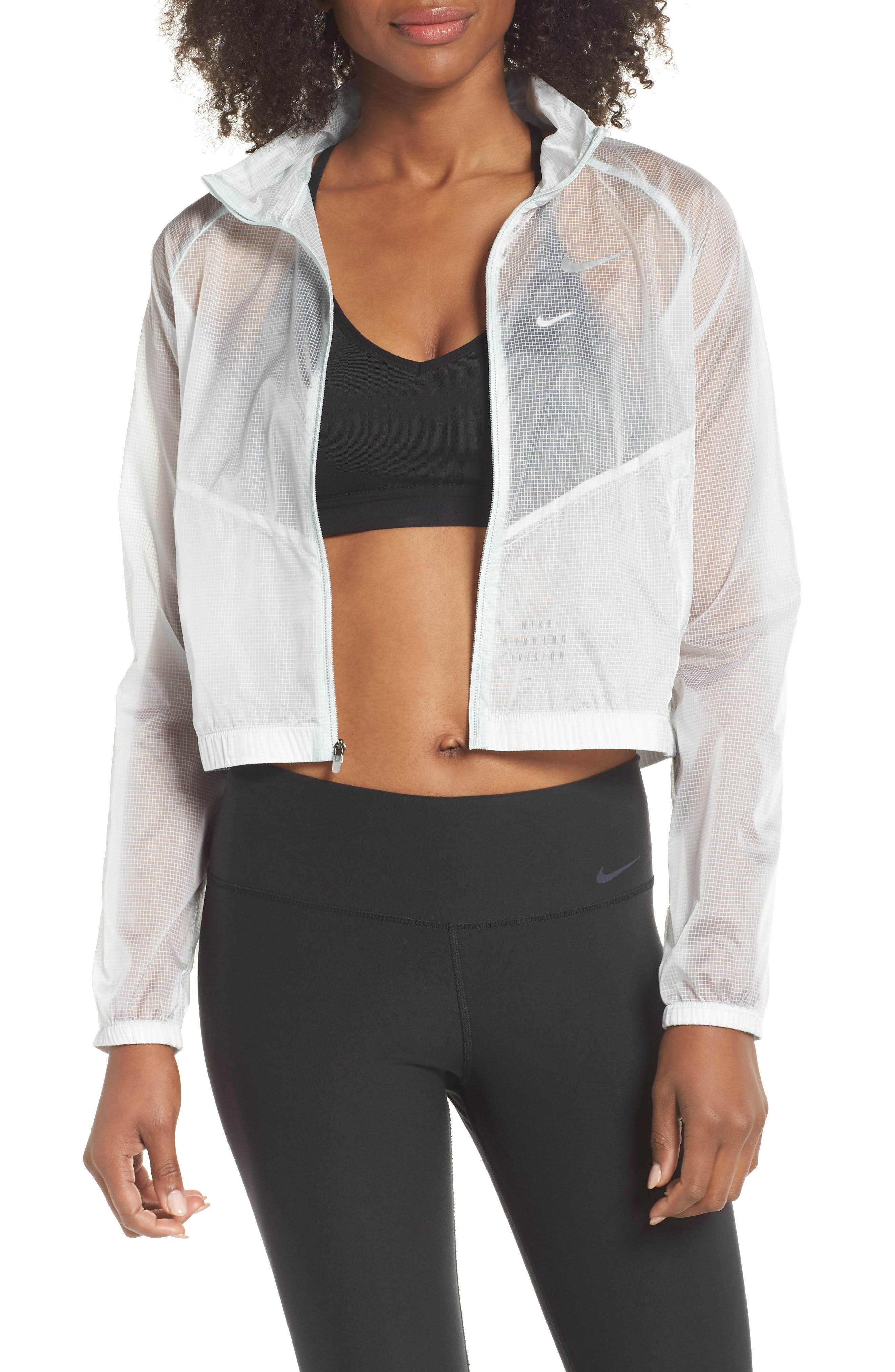 Transparent Running Jacket,                             Main thumbnail 1, color,                             Barely Grey