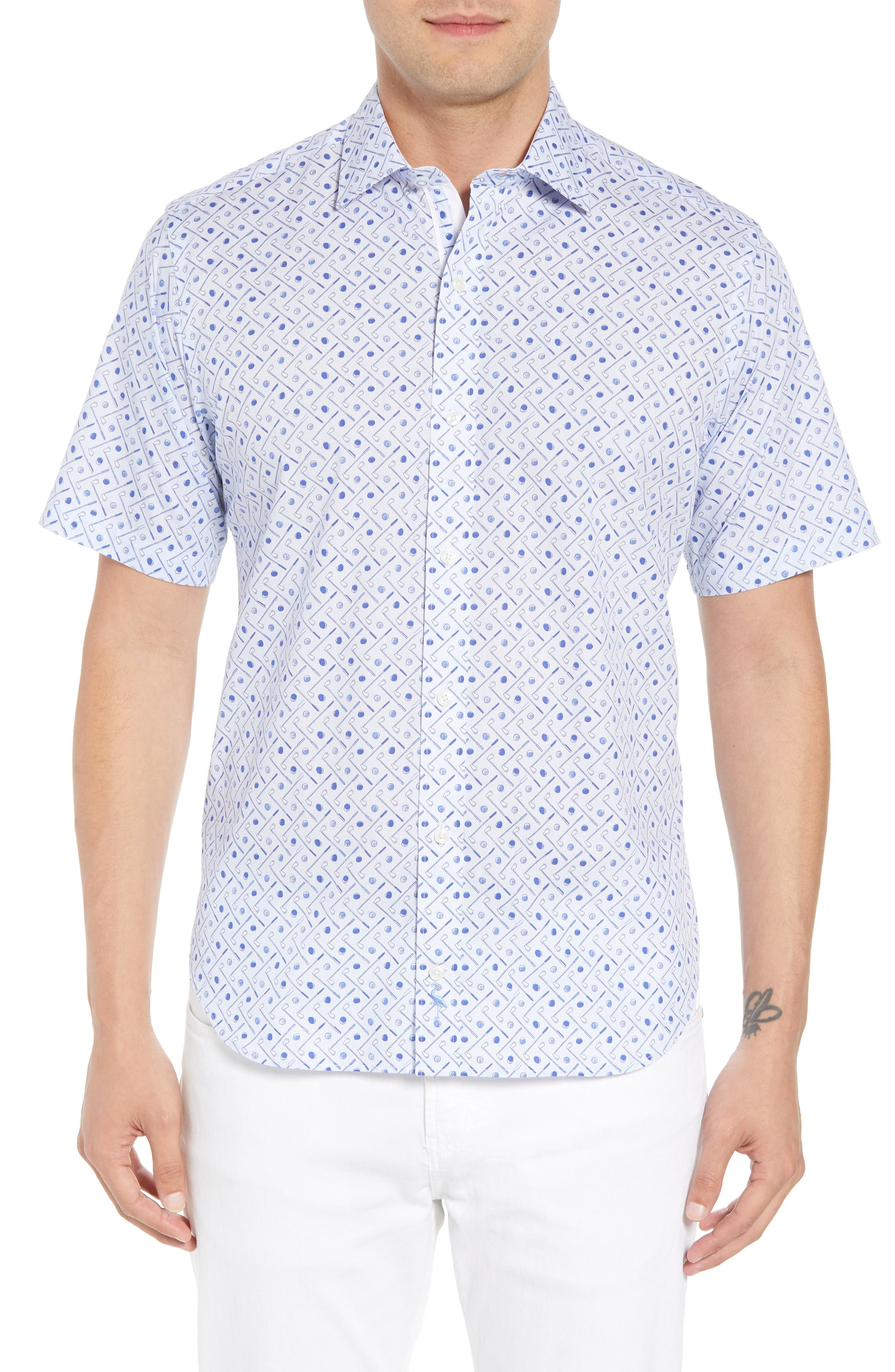 Ash Regular Fit Golf Print Sport Shirt,                             Main thumbnail 1, color,                             Light Blue
