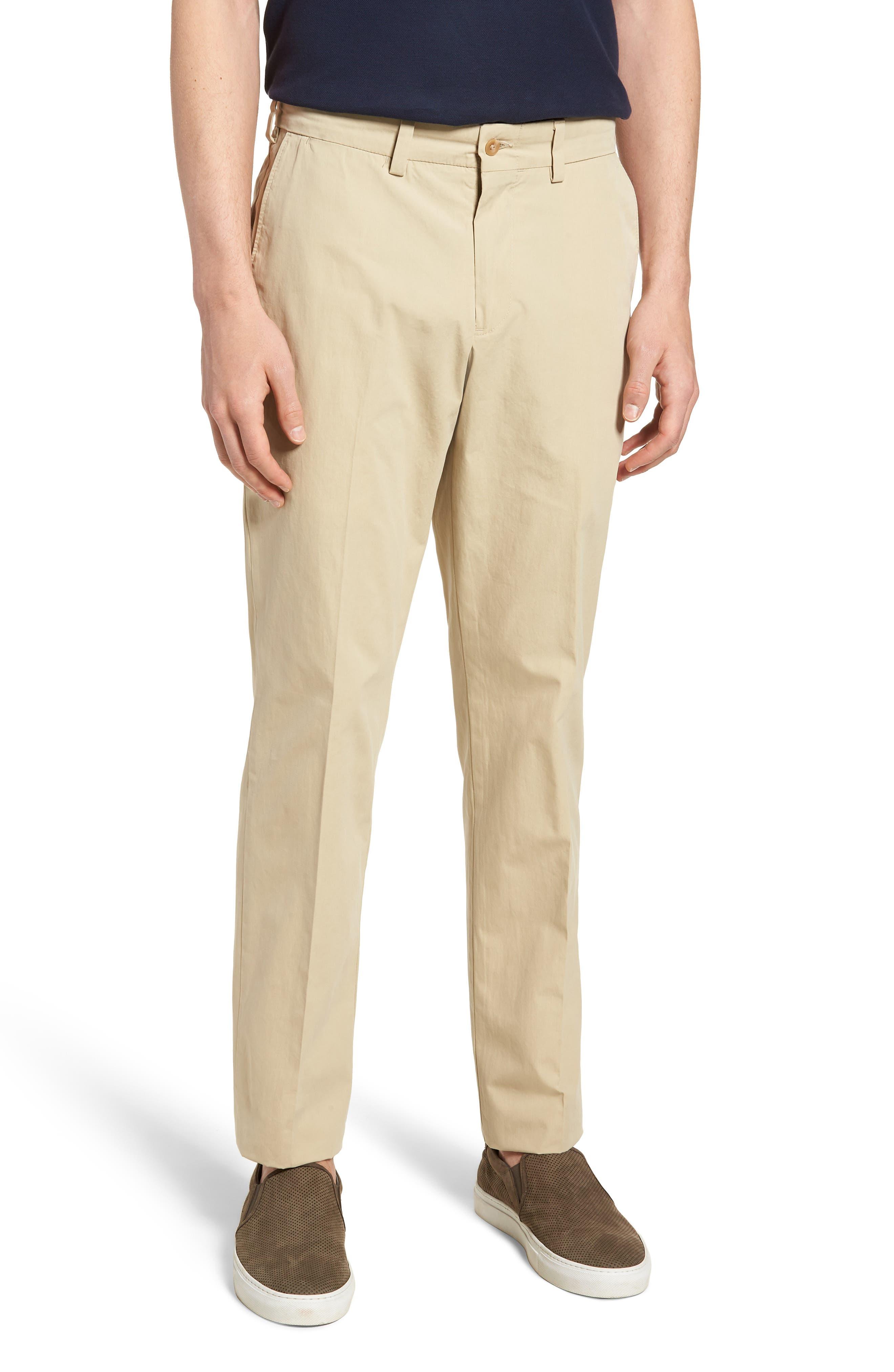 M3 Straight Fit Flat Front Tropical Poplin Pants,                         Main,                         color, Khaki