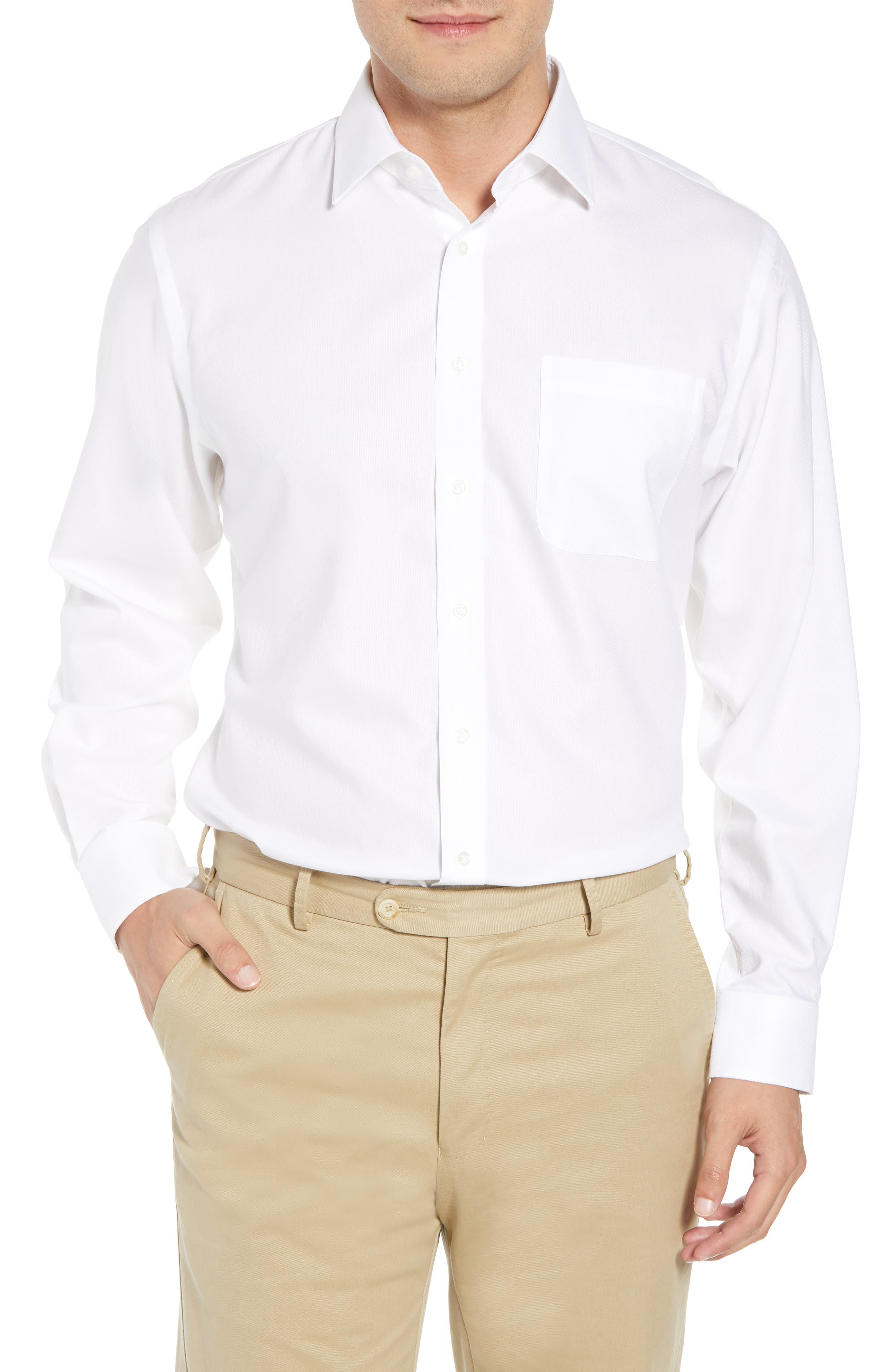 Smartcare<sup>™</sup> Traditional Fit Solid Dress Shirt,                             Main thumbnail 1, color,                             White