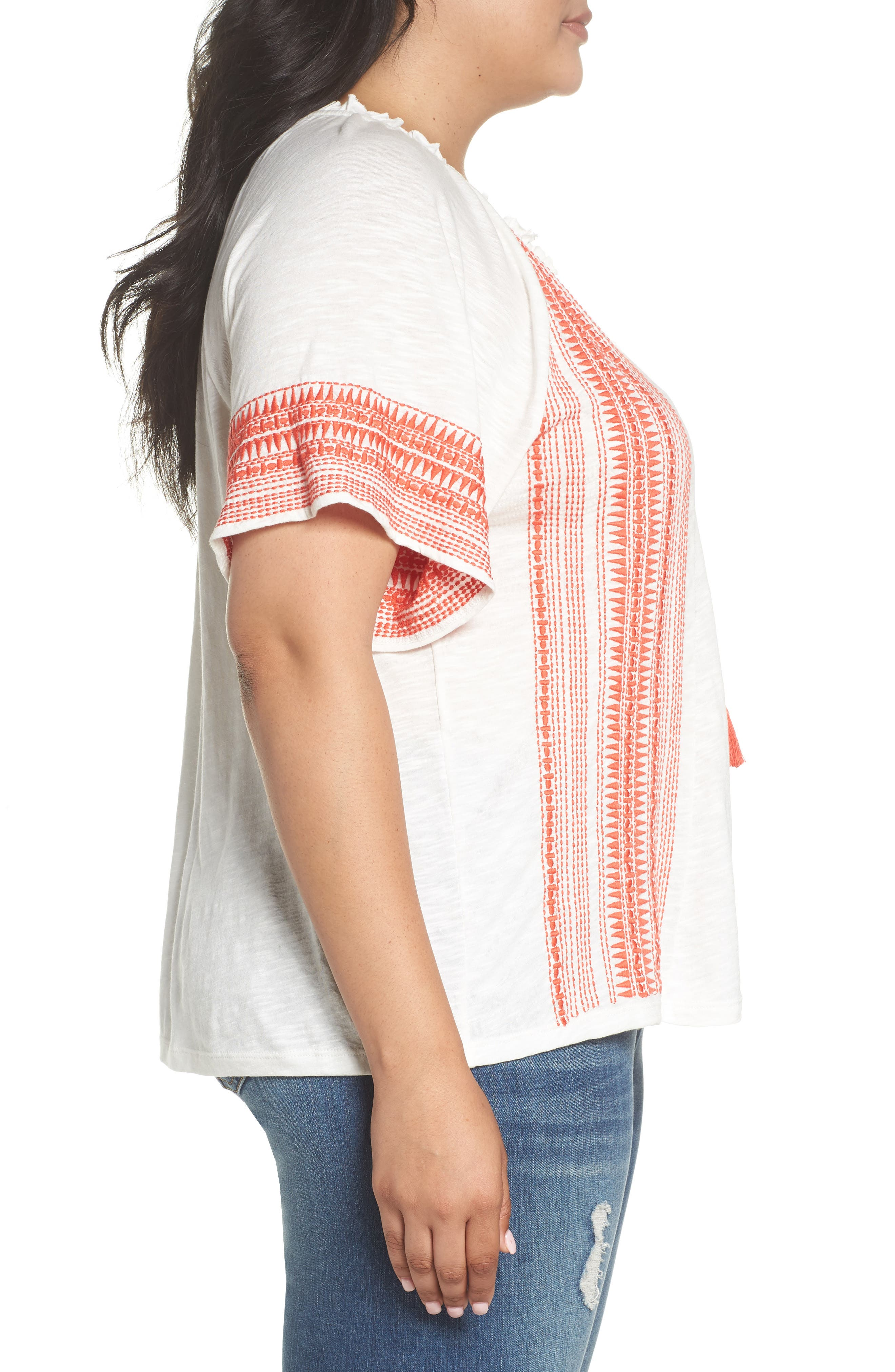 Embroidered Border Peasant Top,                             Alternate thumbnail 4, color,                             Ivory- Coral Dita