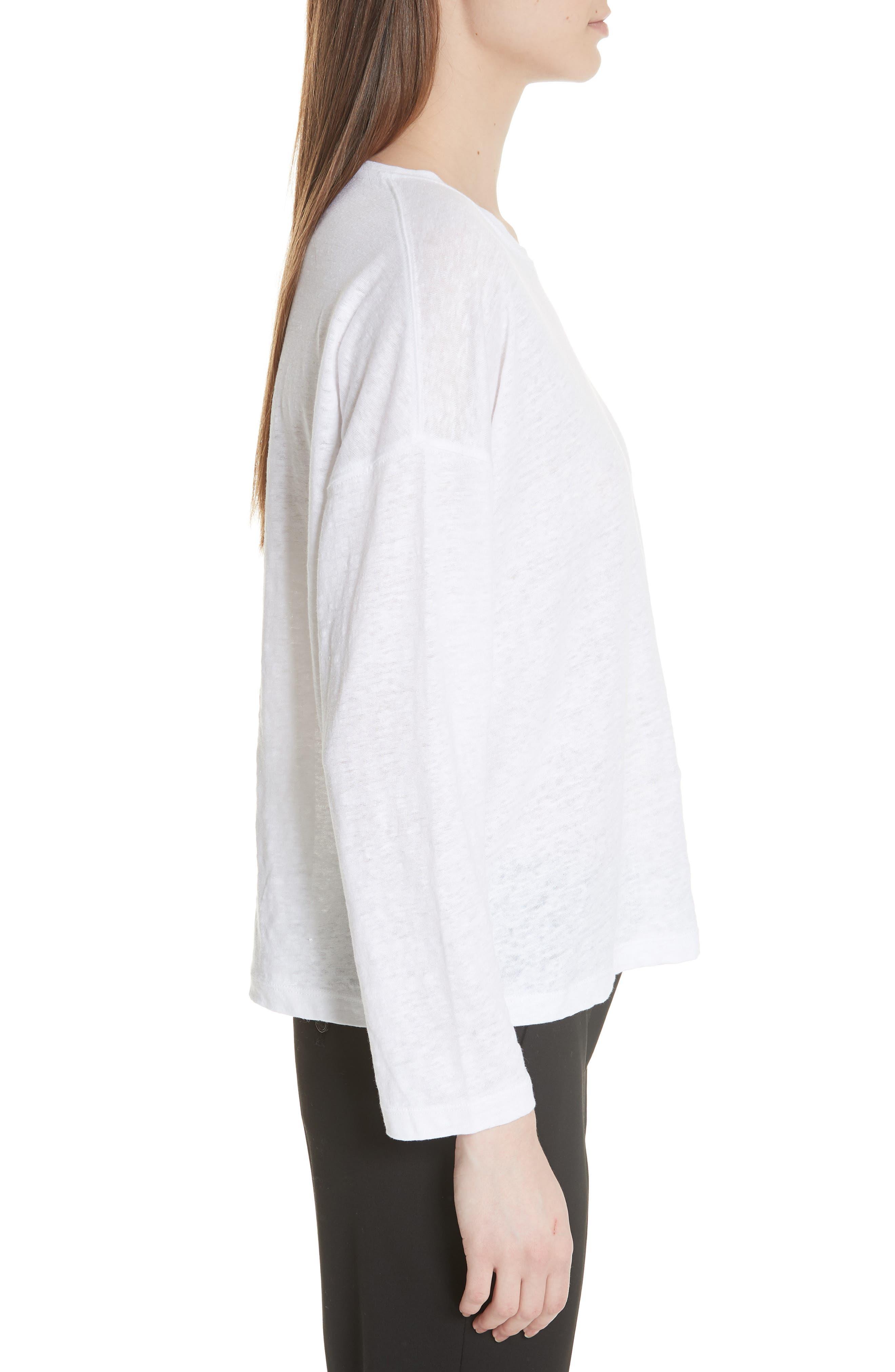 Shrunken Linen Long Sleeve Top,                             Alternate thumbnail 3, color,                             Optic White