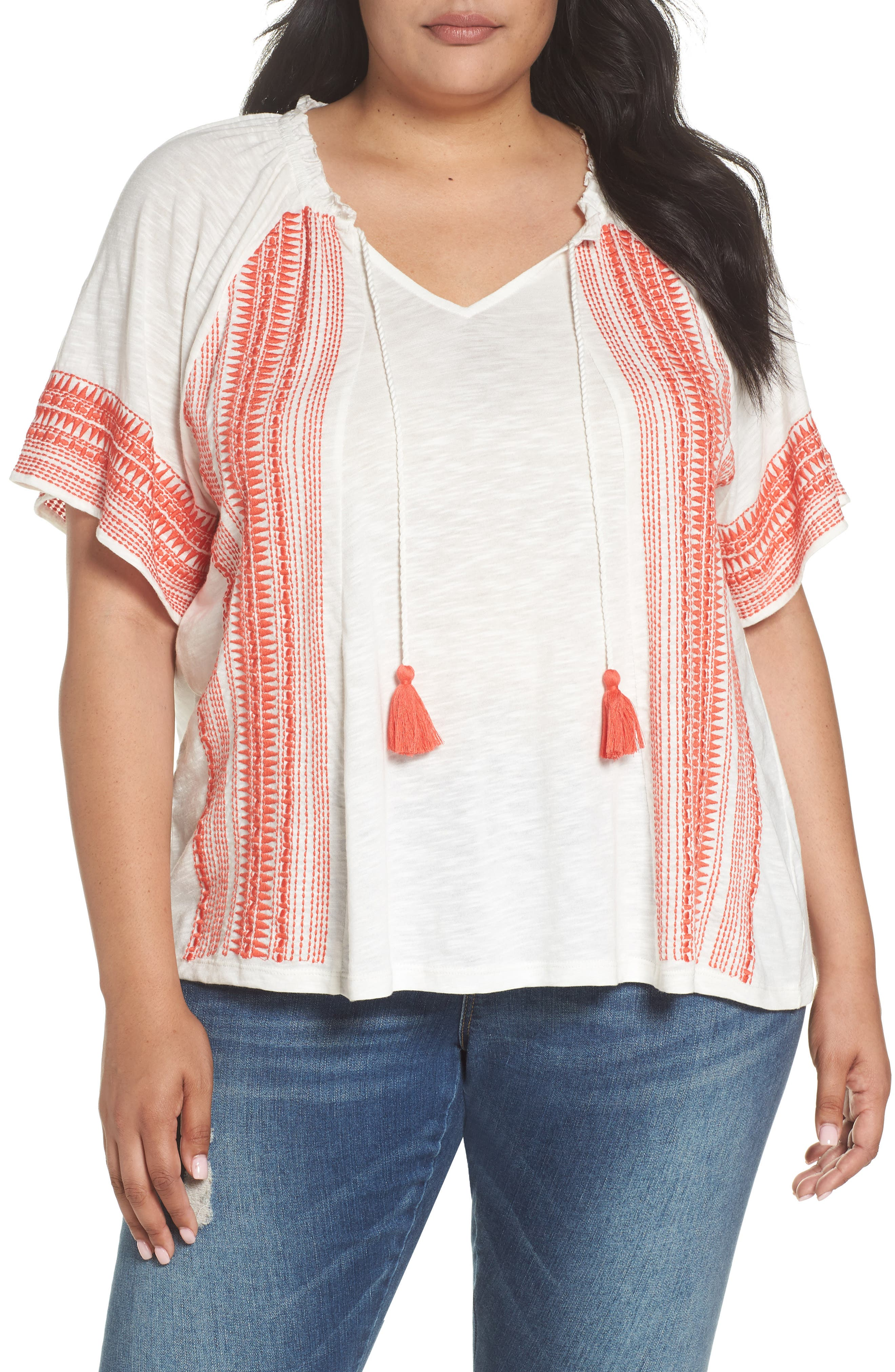 Embroidered Border Peasant Top,                         Main,                         color, Ivory- Coral Dita