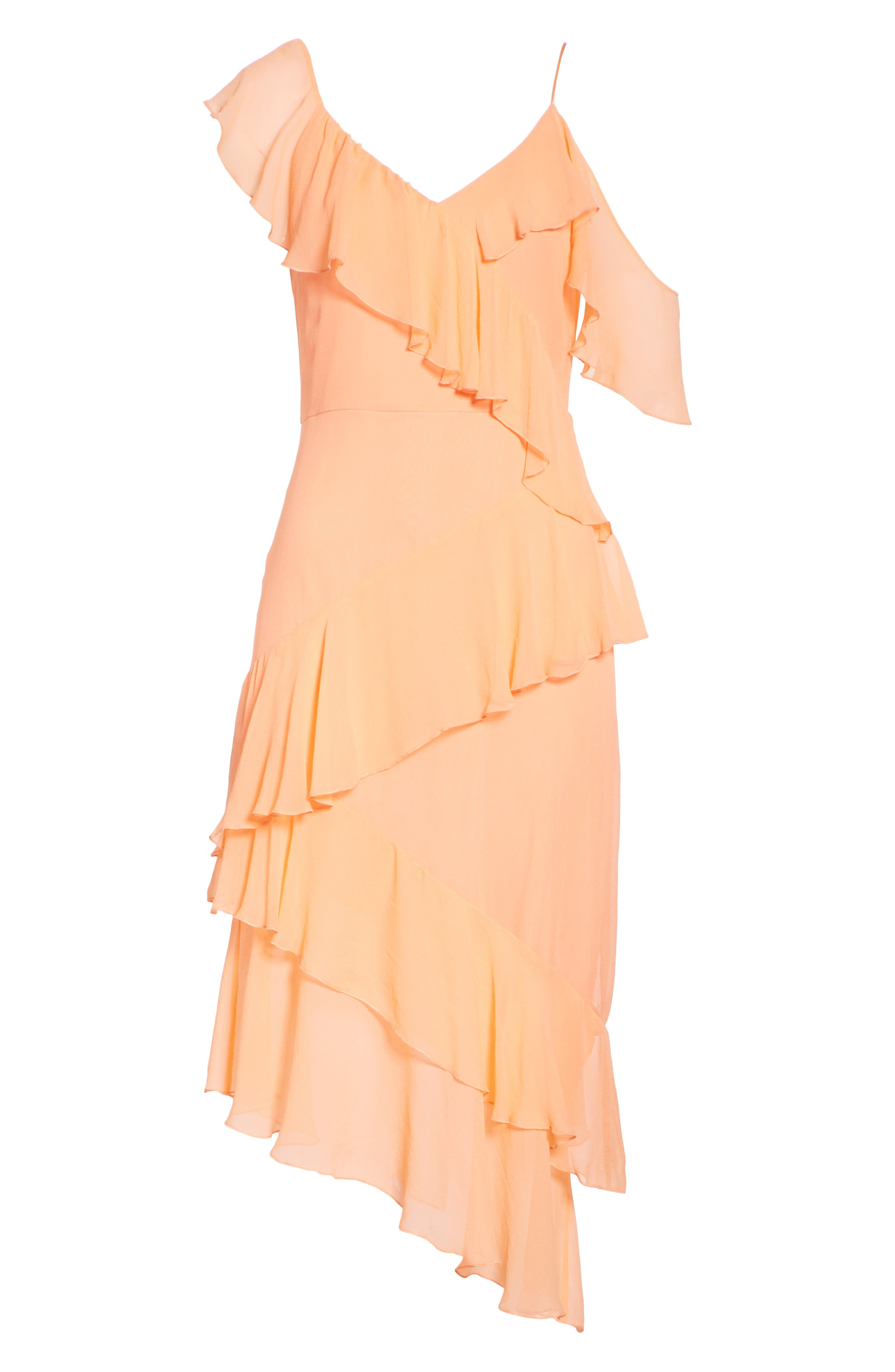 Olympia Asymmetrical Silk Chiffon Dress,                             Alternate thumbnail 6, color,                             Peach