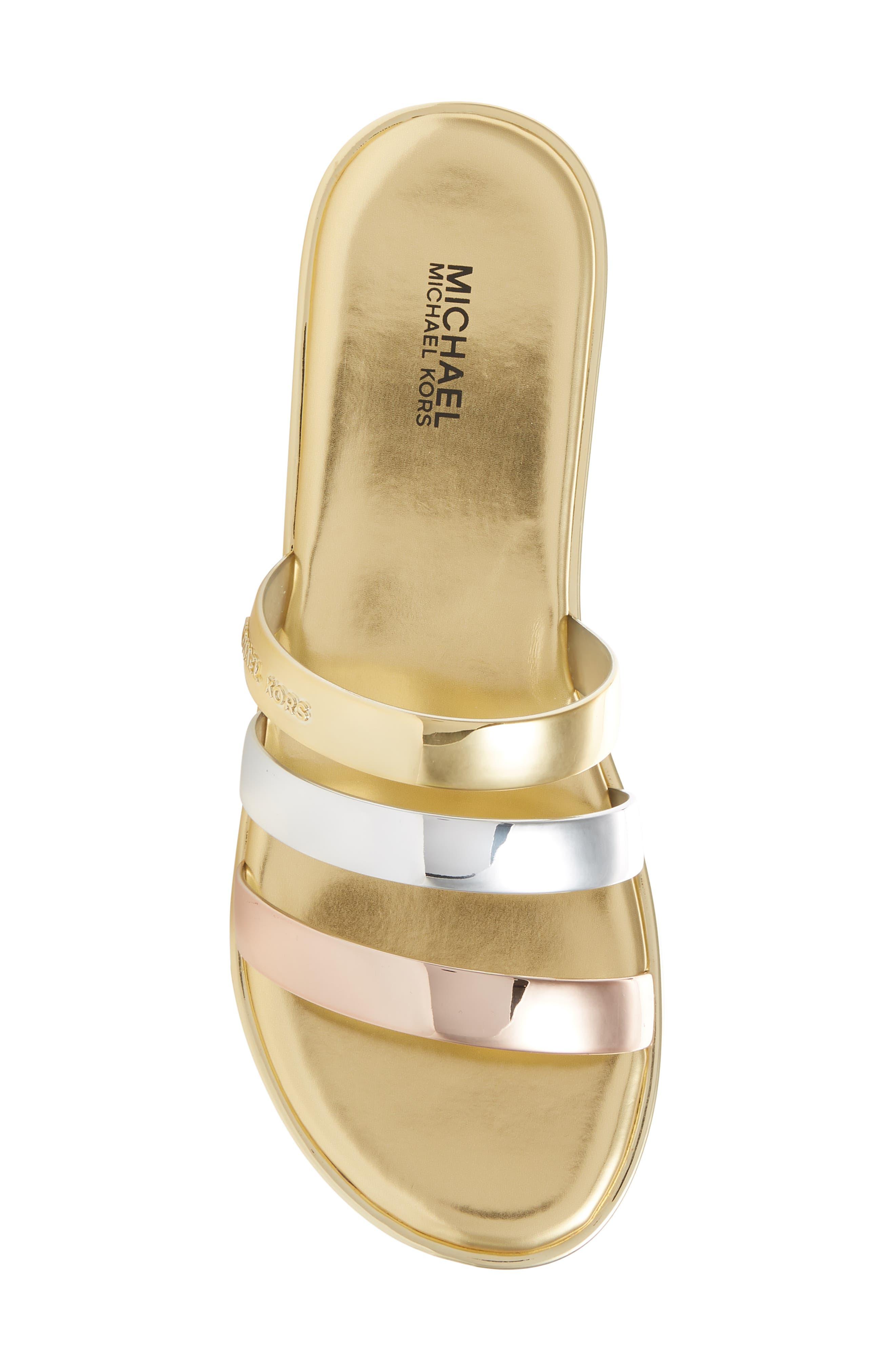 Keiko Triple-Band Slide Sandal,                             Alternate thumbnail 5, color,                             Gold/ Silver