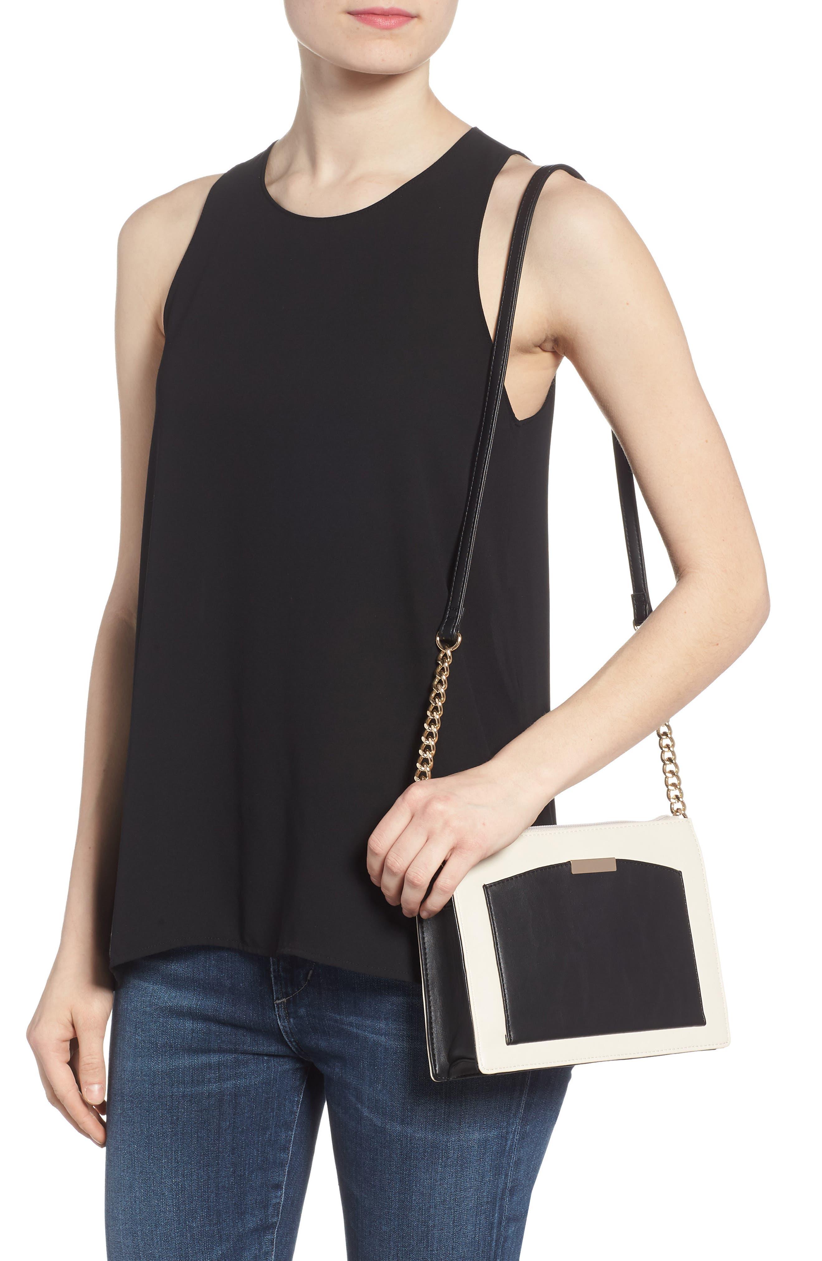 Colorblock Faux Leather Crossbody Bag,                             Alternate thumbnail 2, color,                             Ivory/ Black