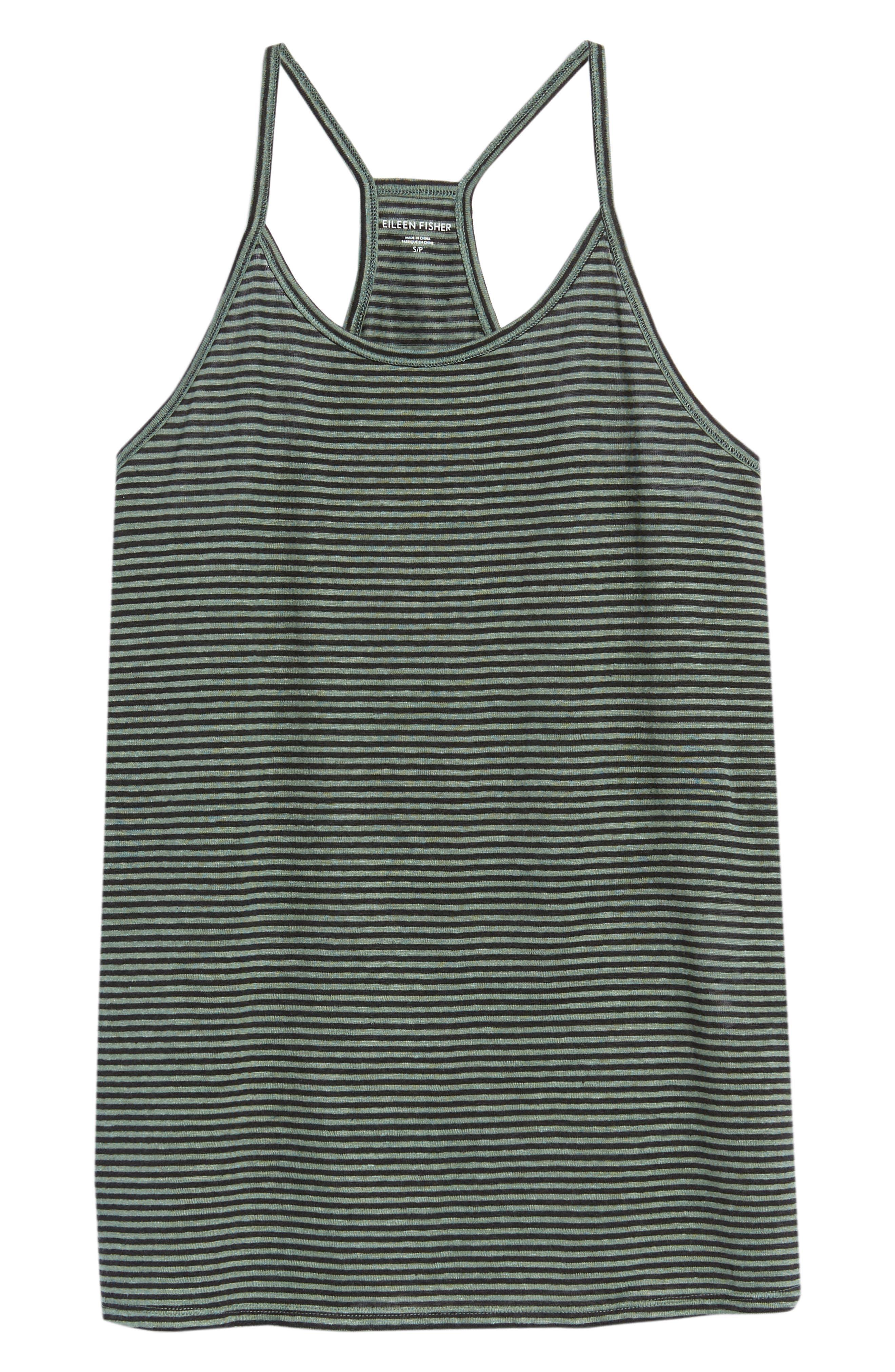 Stripe Organic Linen Tank,                             Alternate thumbnail 6, color,                             Nori