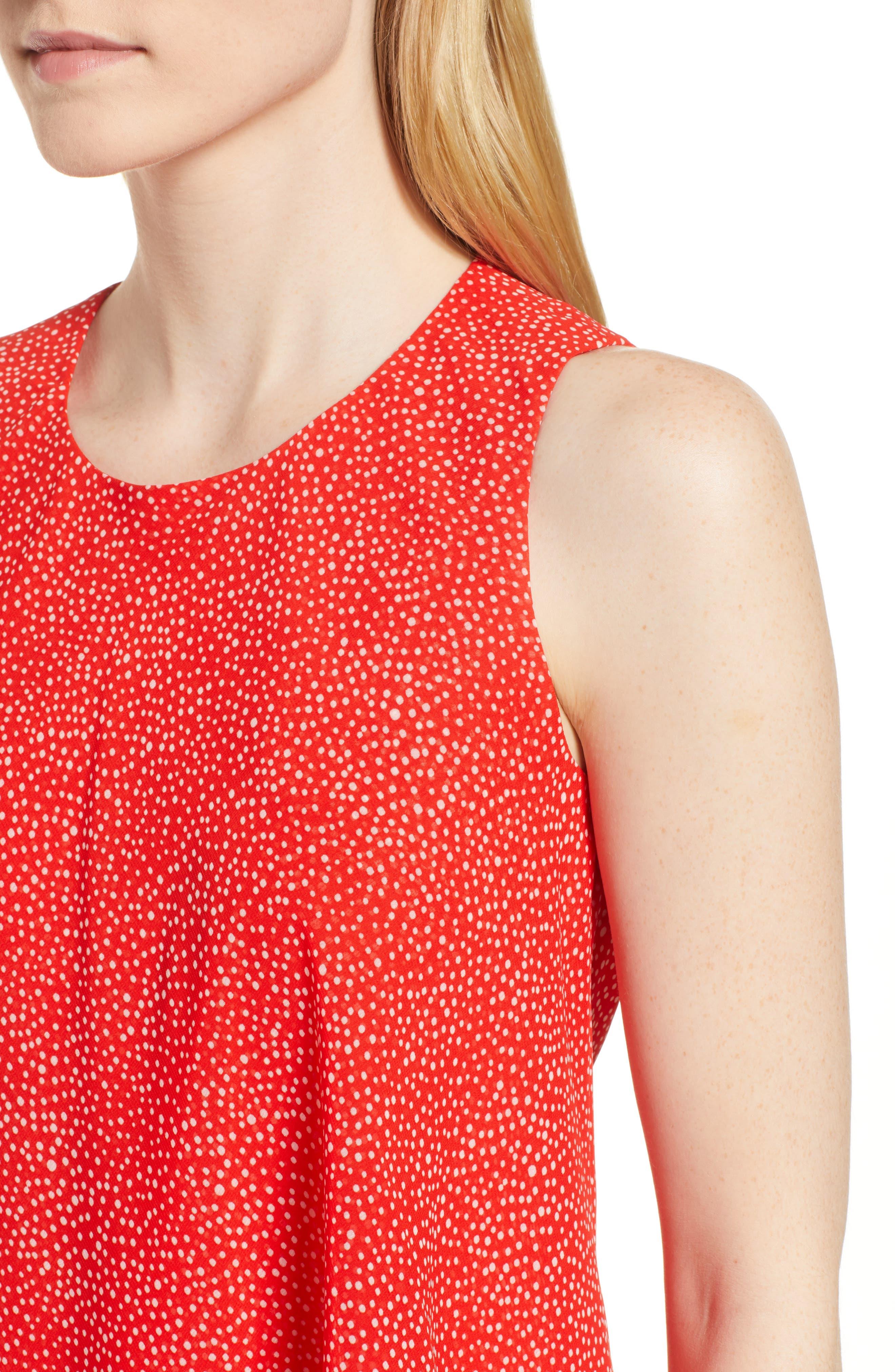 Chiffon Overlay A-Line Dress,                             Alternate thumbnail 4, color,                             Tomato/ White