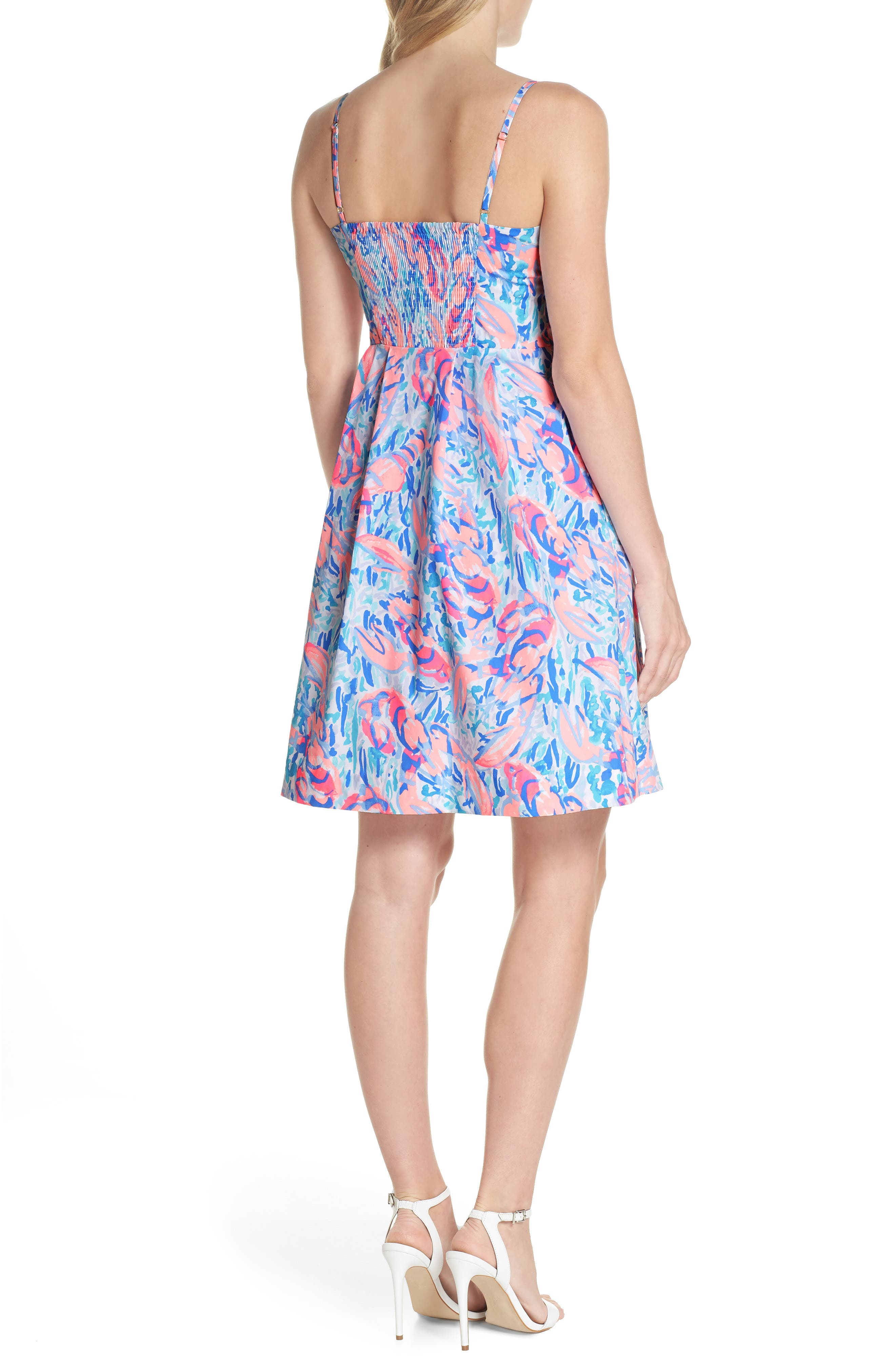 Easton Fit & Flare Dress,                             Alternate thumbnail 2, color,                             Cosmic Coral Cracked Up