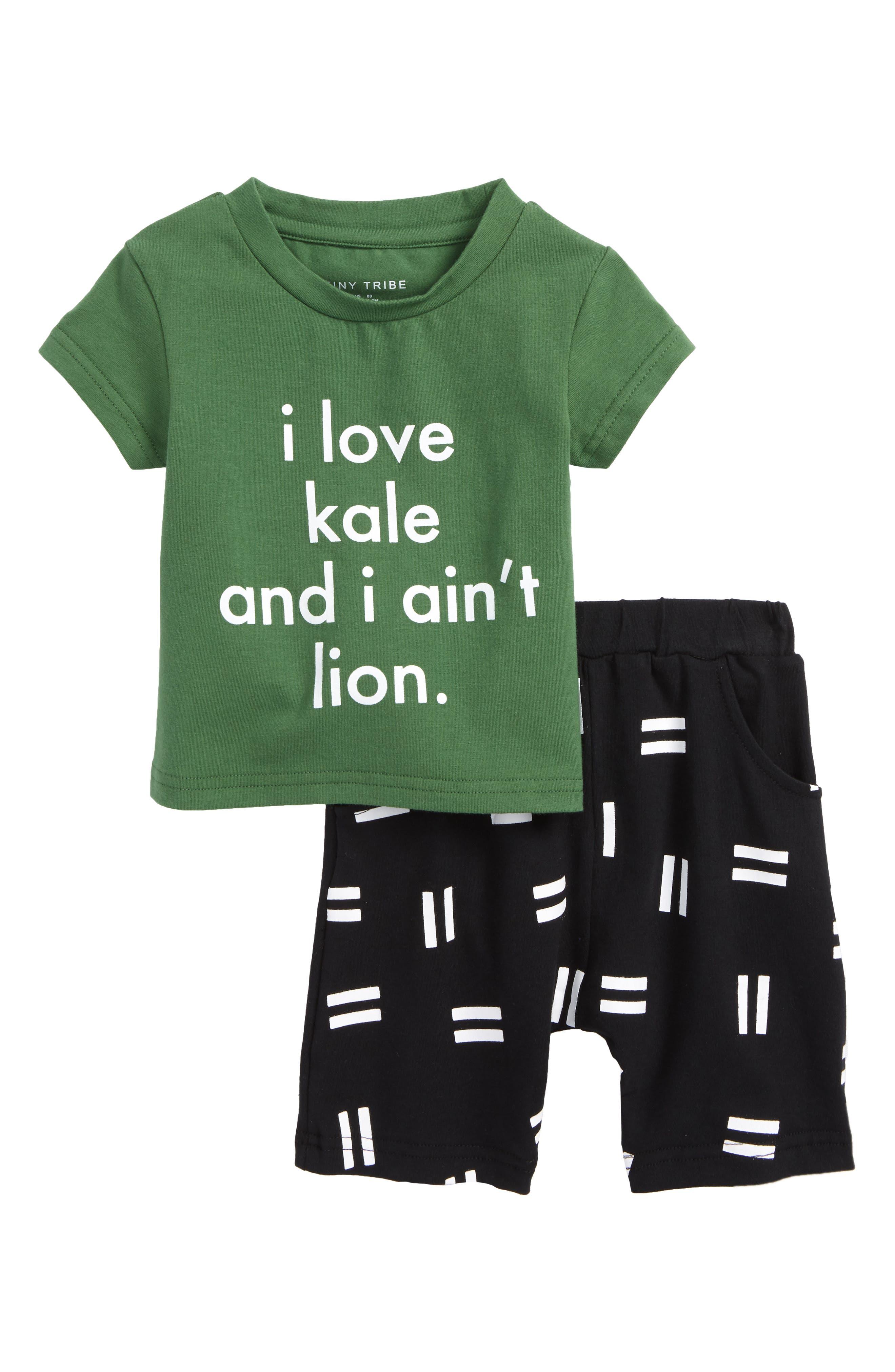 I Love Kale T-Shirt & Shorts Set,                             Main thumbnail 1, color,                             Green/ Black