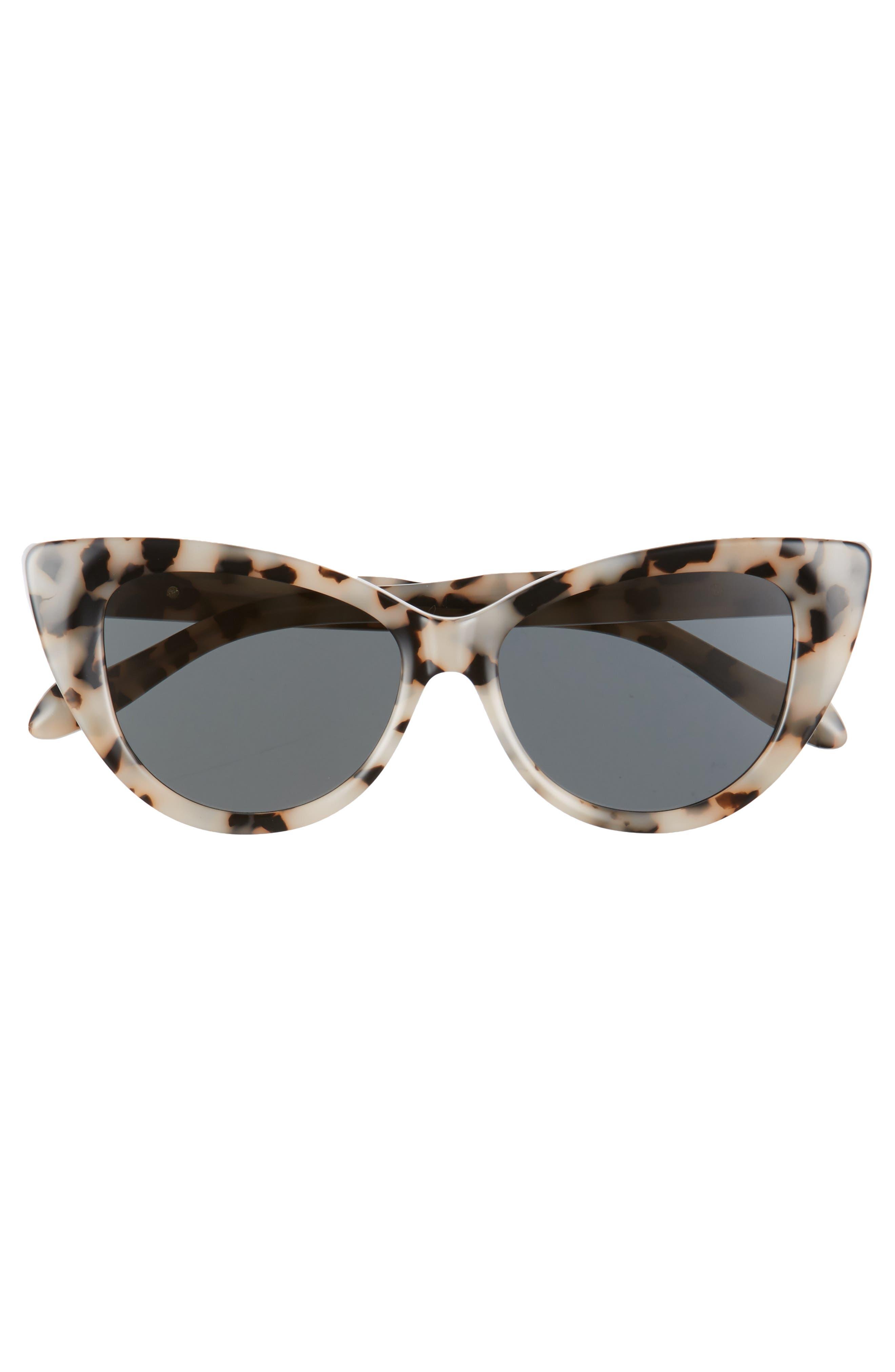 Kyoto 51mm Cat Eye Sunglasses,                             Alternate thumbnail 3, color,                             Milk Tortoise/ Black Solid