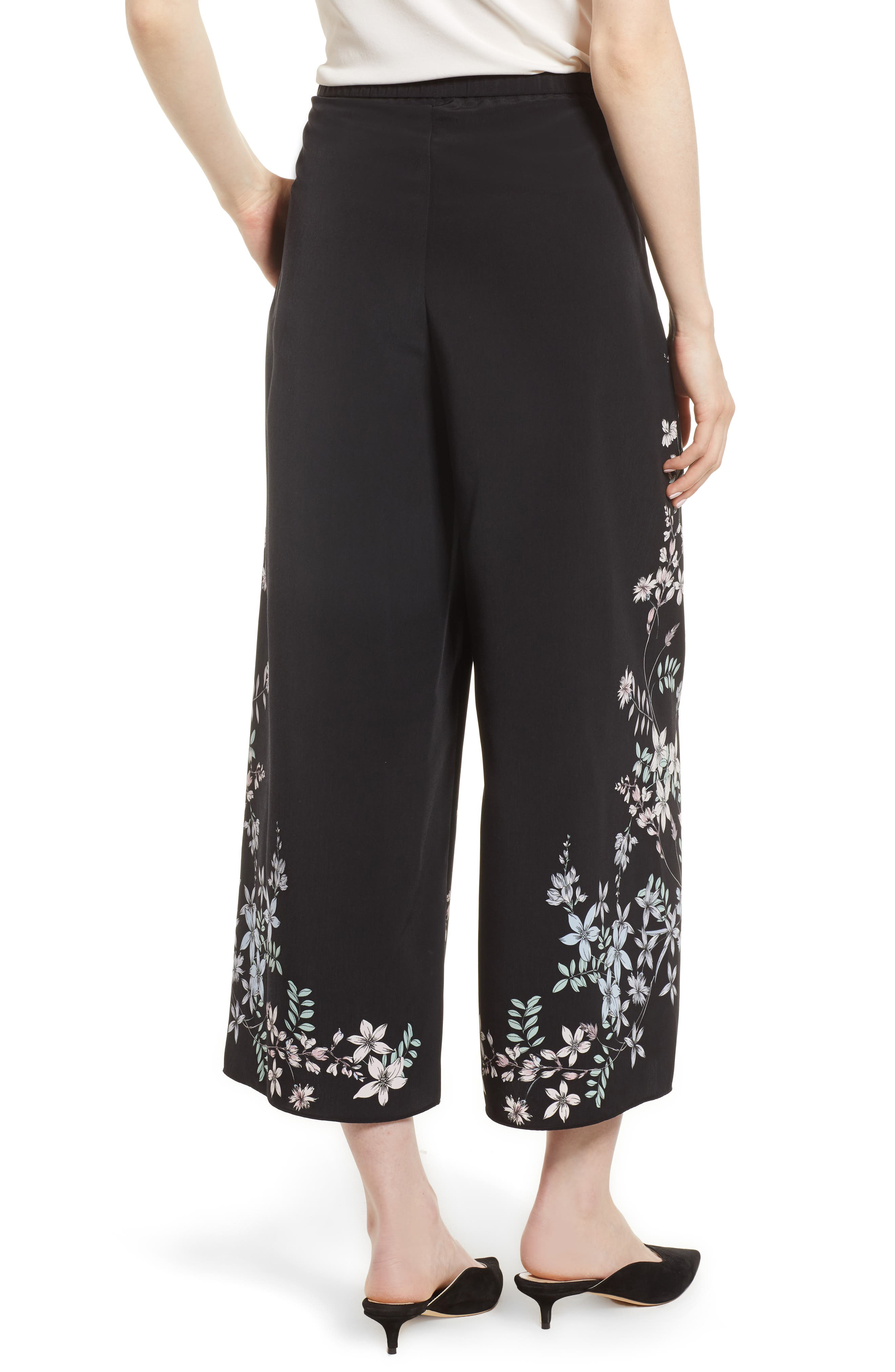 Floral Wide Leg Crop Pants,                             Alternate thumbnail 2, color,                             Rich Black