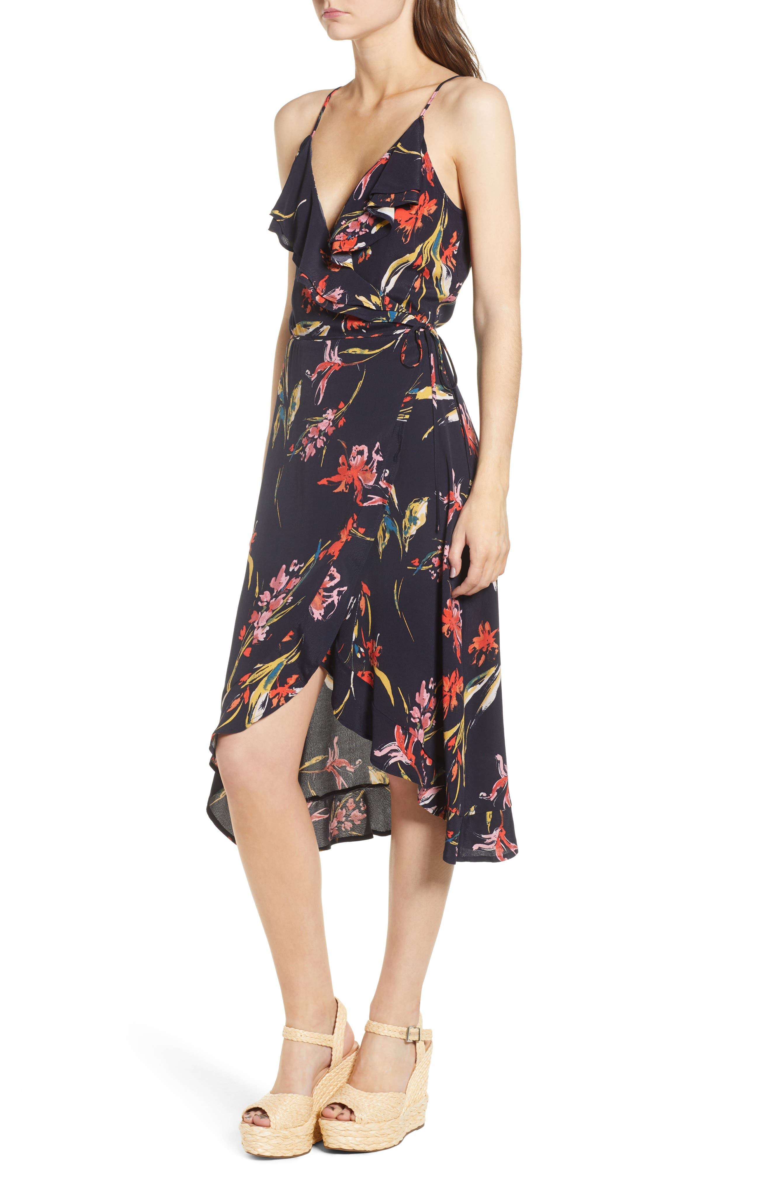 Flounce Wrap Midi Dress,                             Alternate thumbnail 3, color,                             Navy Night Dancing Floral