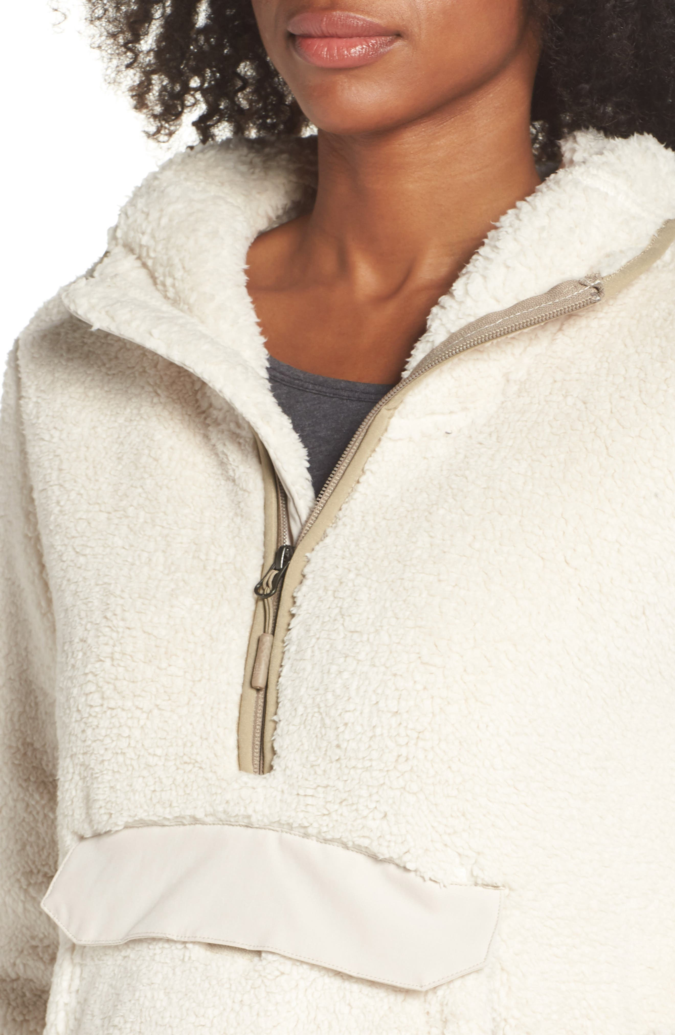 Campshire High Pile Fleece Pullover Hoodie,                             Alternate thumbnail 4, color,                             Vintage White/ Peyote Beige