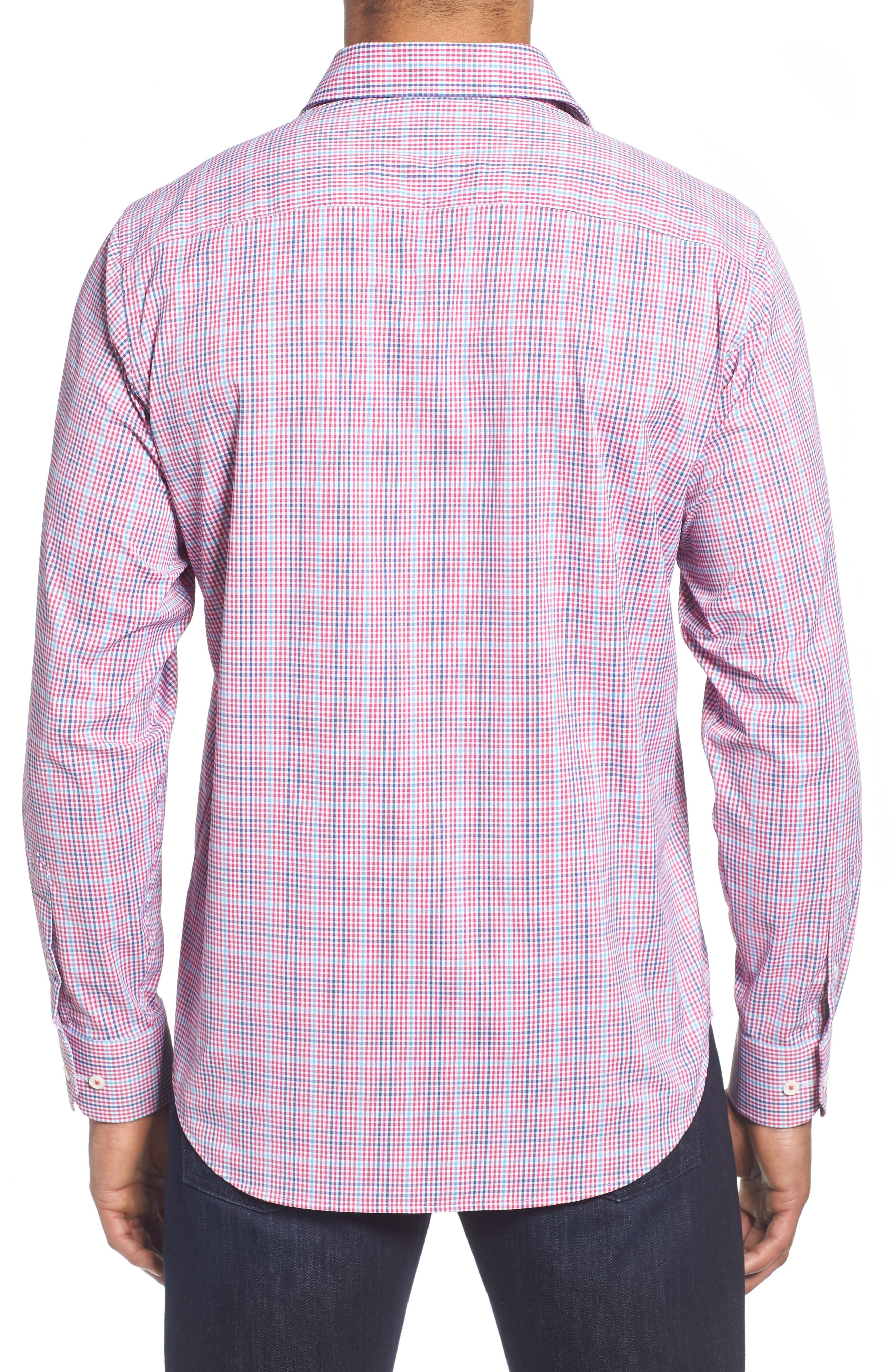 Classic Fit Pin Check Performance Sport Shirt,                             Alternate thumbnail 3, color,                             Berry