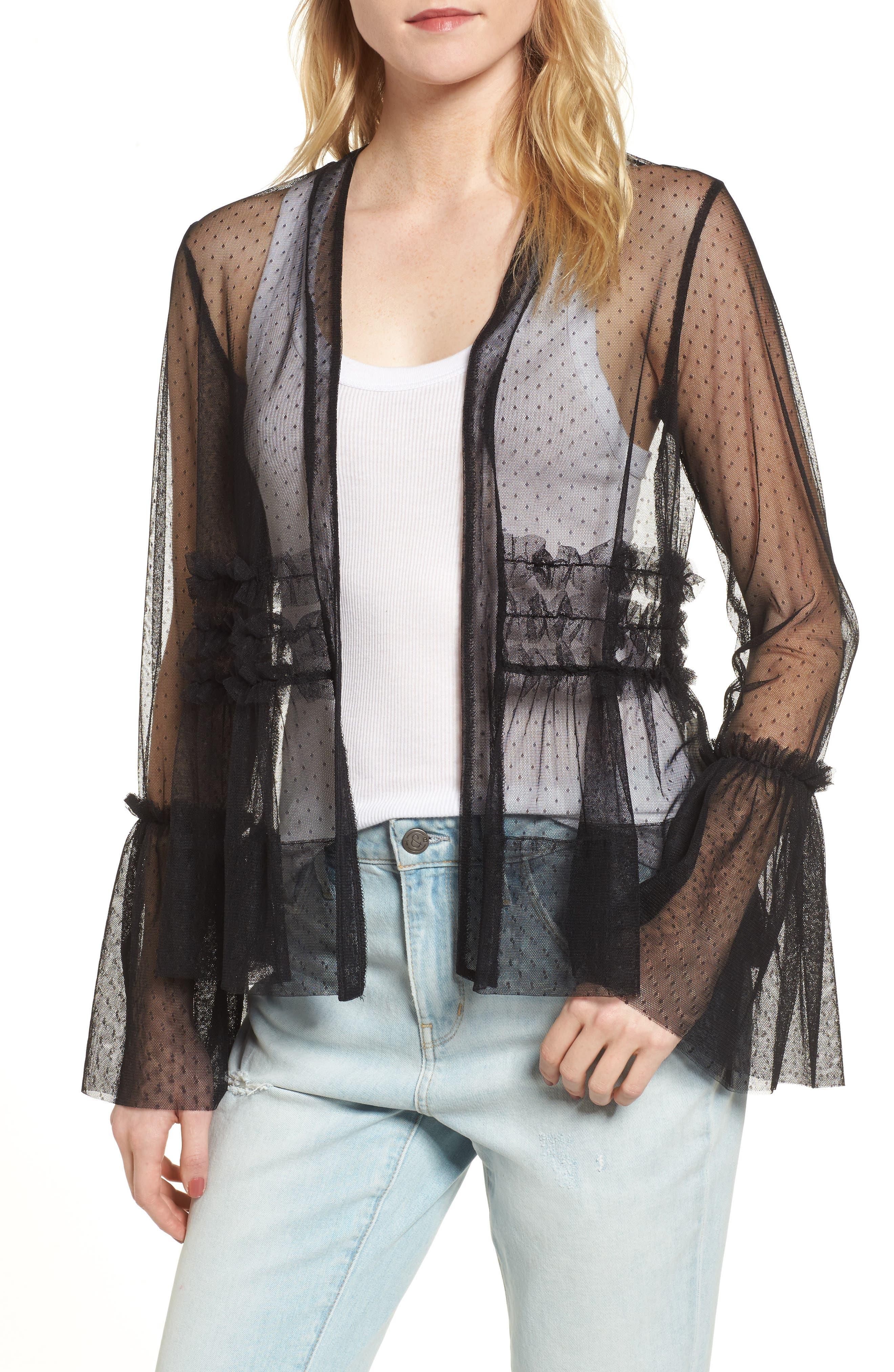 Ruffle Mesh Jacket,                         Main,                         color, Black
