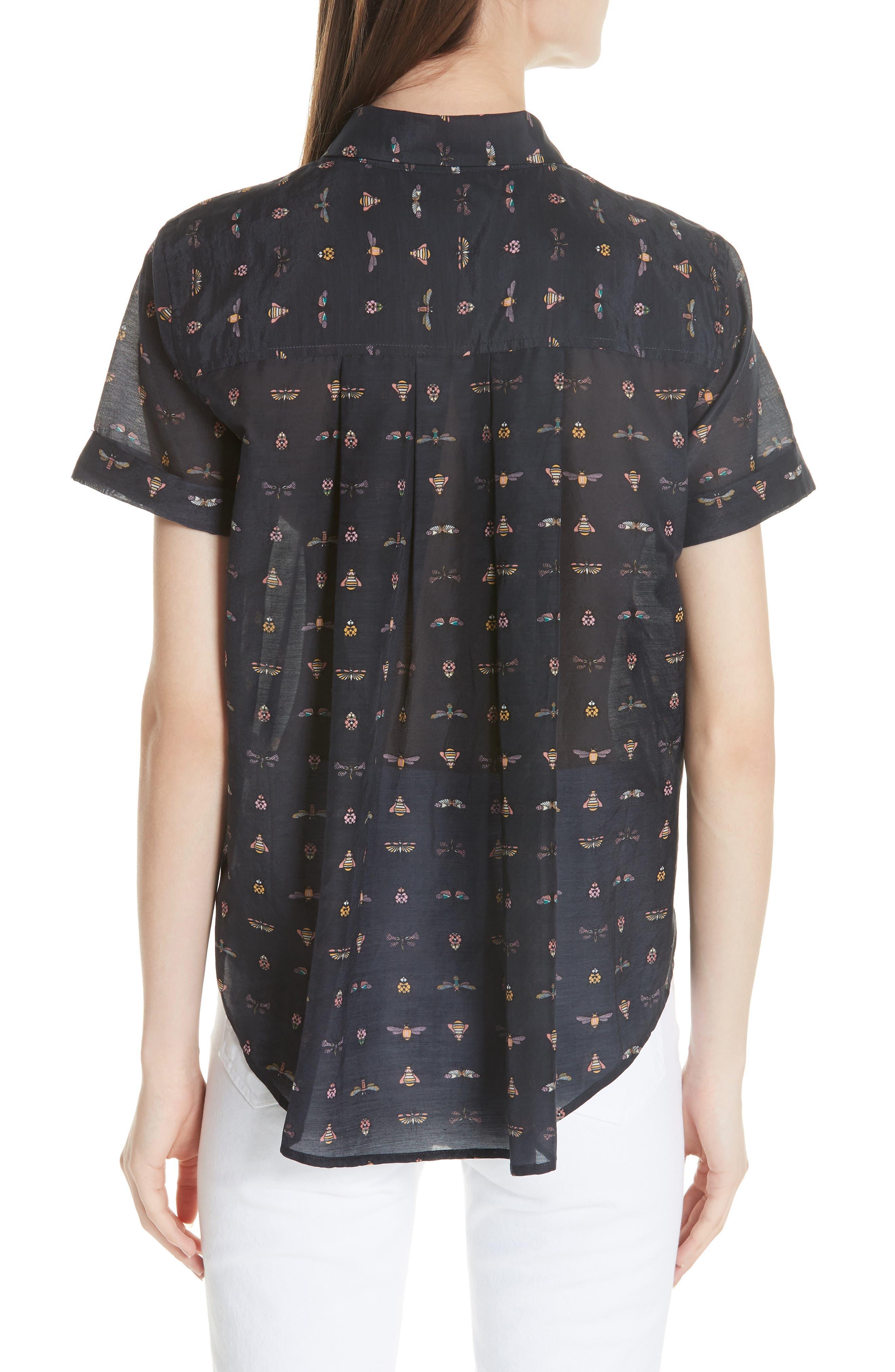 Elley Cotton & Silk Shirt,                             Alternate thumbnail 2, color,                             Eclipse Multi